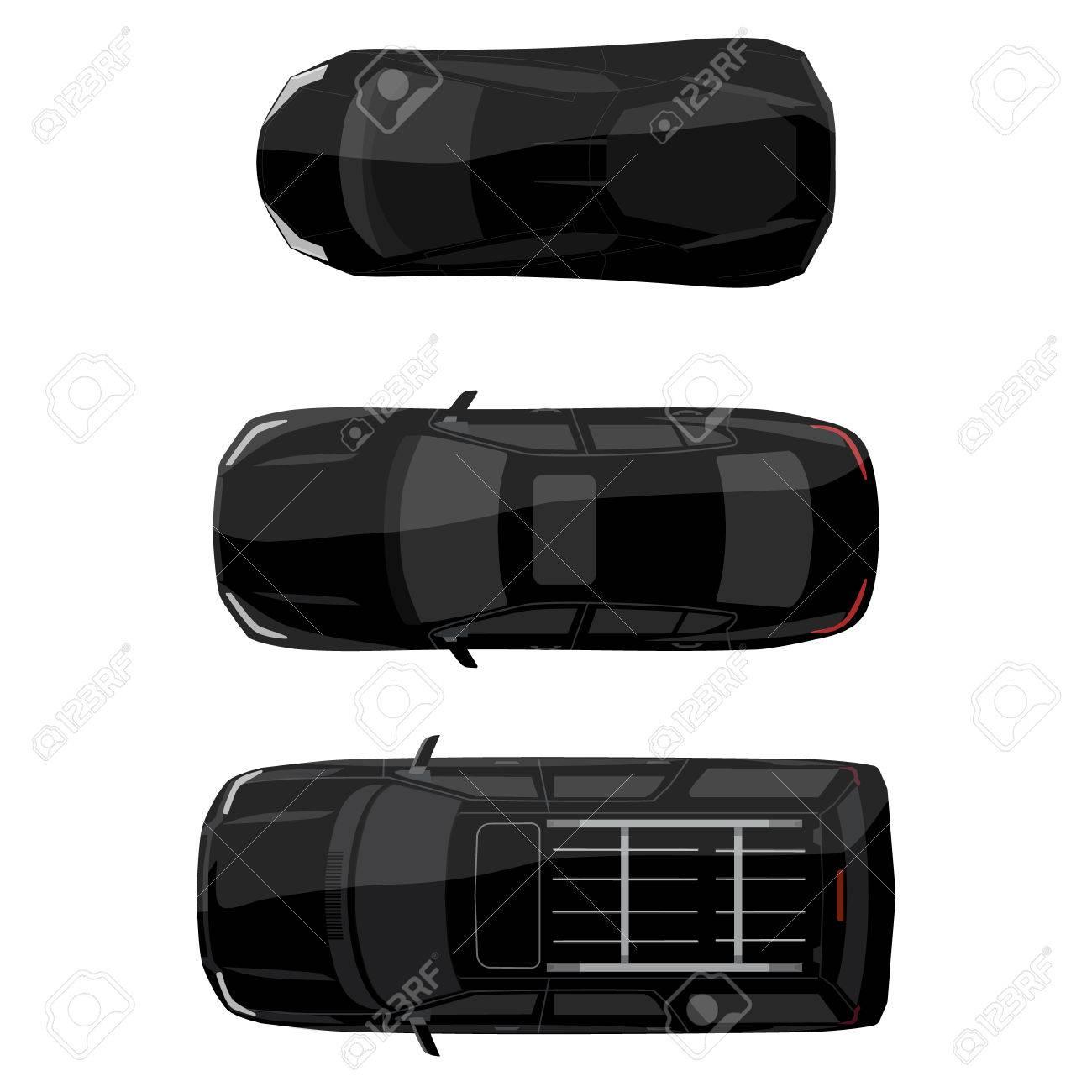 Vector Illustration Black Jeep Sedan And Sport Car Top View