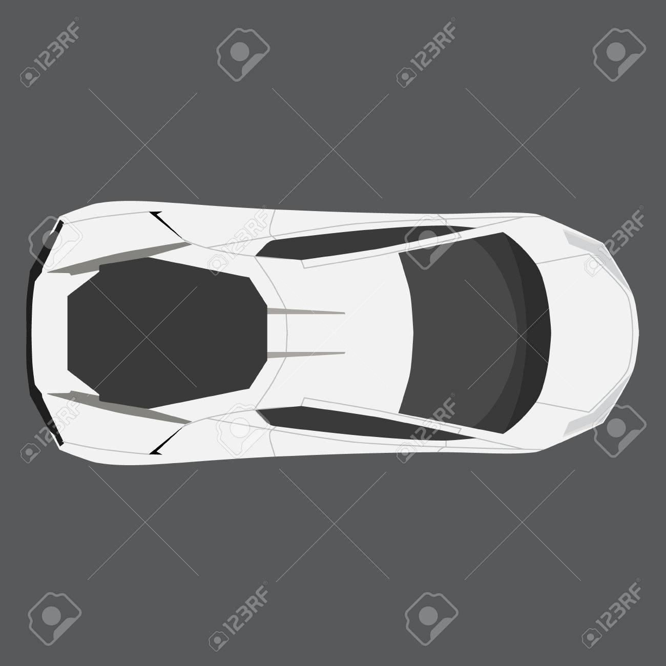 Vector Illustration White Car Top View Generic Car Sport Car