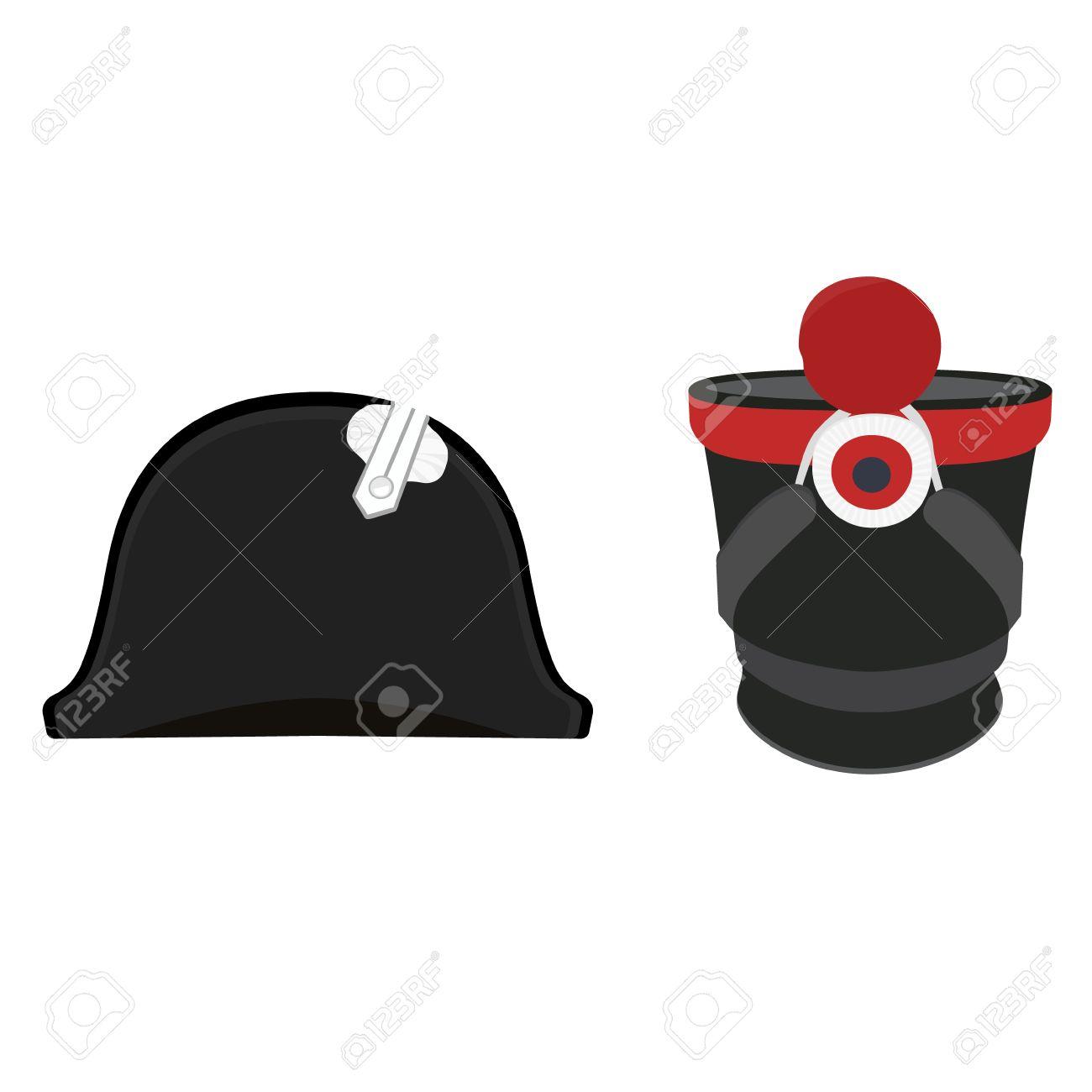 gran variedad de grandes ofertas producto caliente Ilustración vectorial negro sombrero de Napoleón Bonaparte y gorra militar  cilíndrica. sombrero chacó de la infantería. bicornio general
