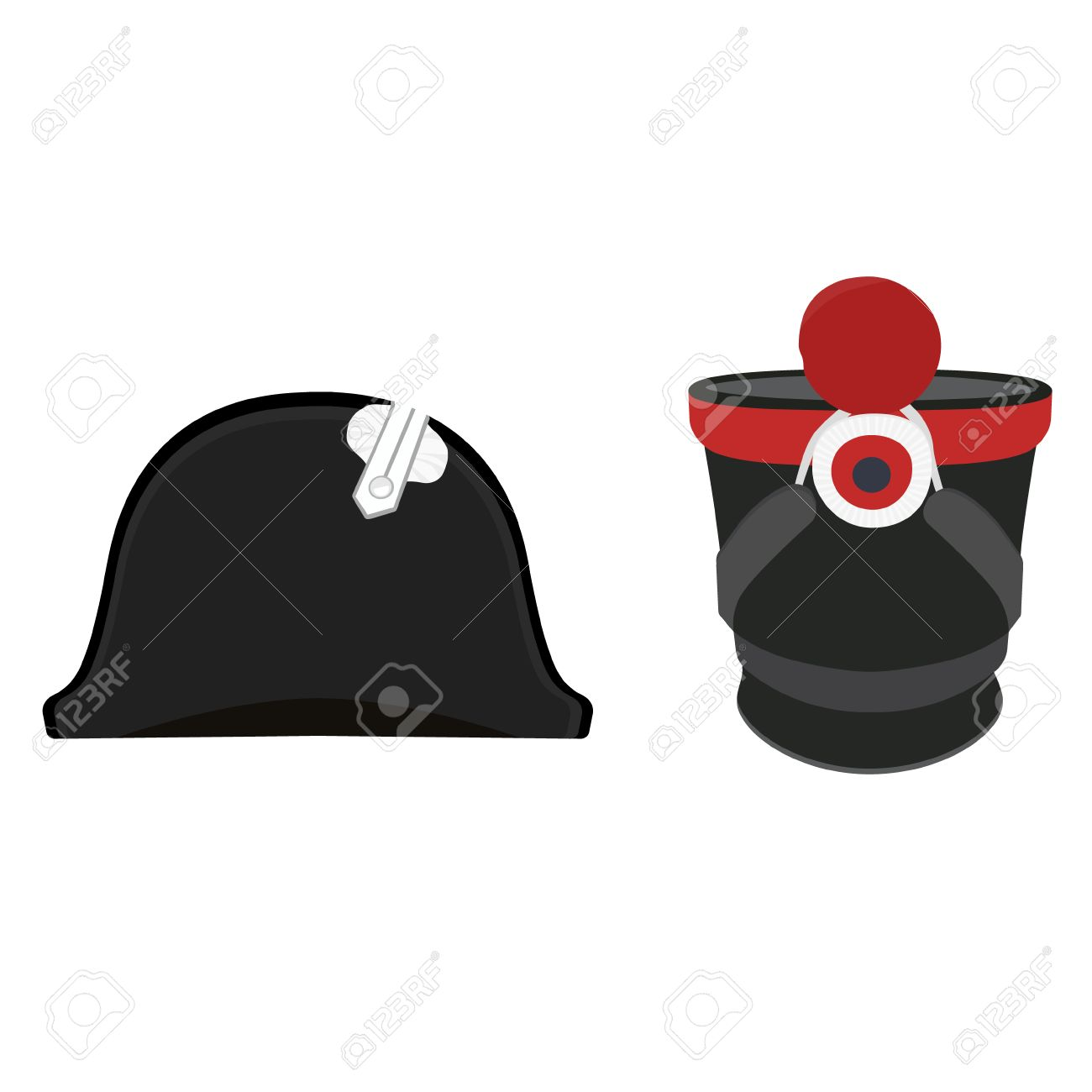 ec1f030b5b1 Vector - Vector illustration black Napoleon Bonaparte hat and cylindrical  military cap. Infantry shako hat. General bicorne hat