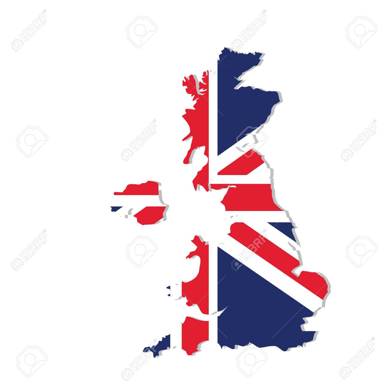 Raster Illustration Uk Map With Flag England Map United Kingdom