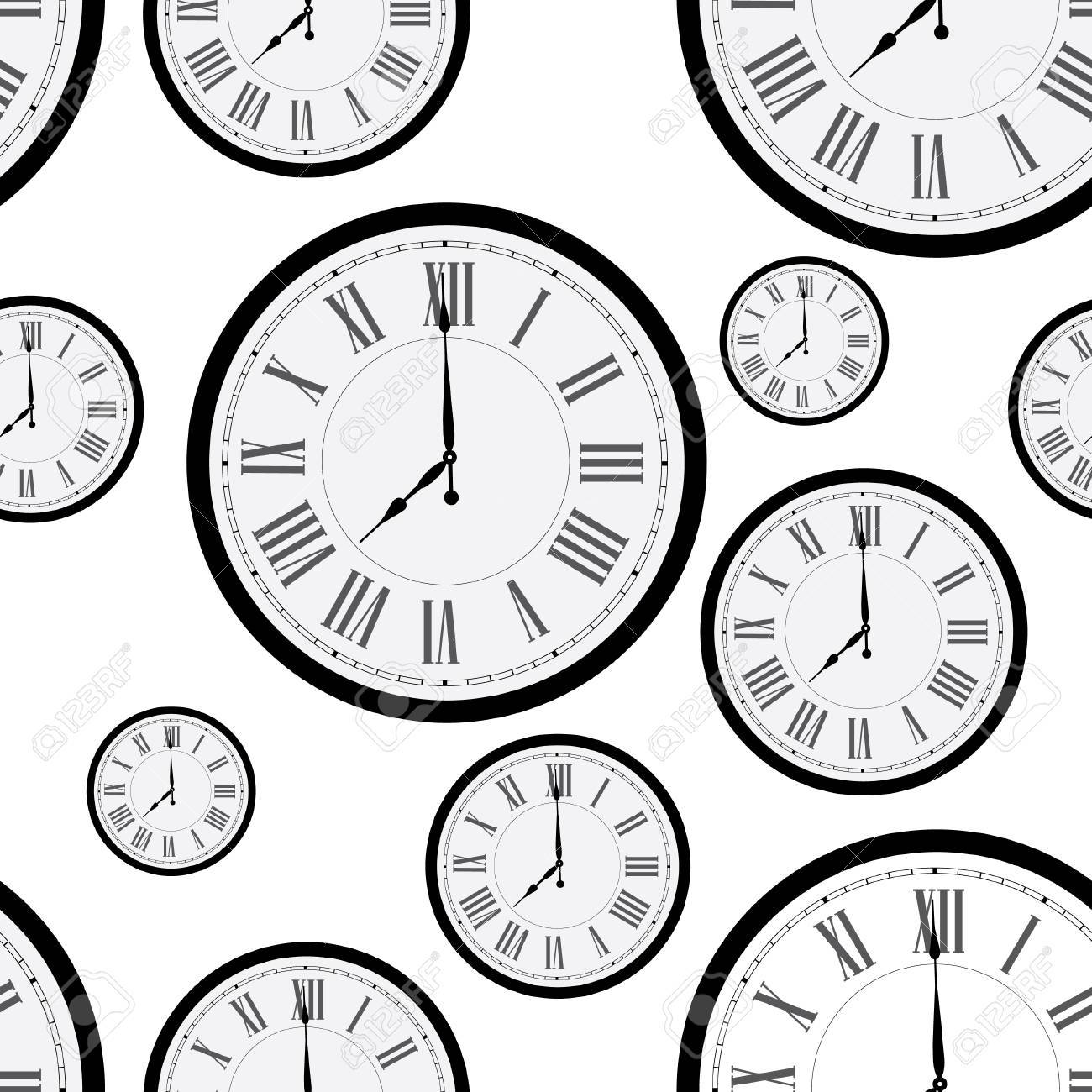 Seamless pattern with wall clock  Clock on wall  Old clock