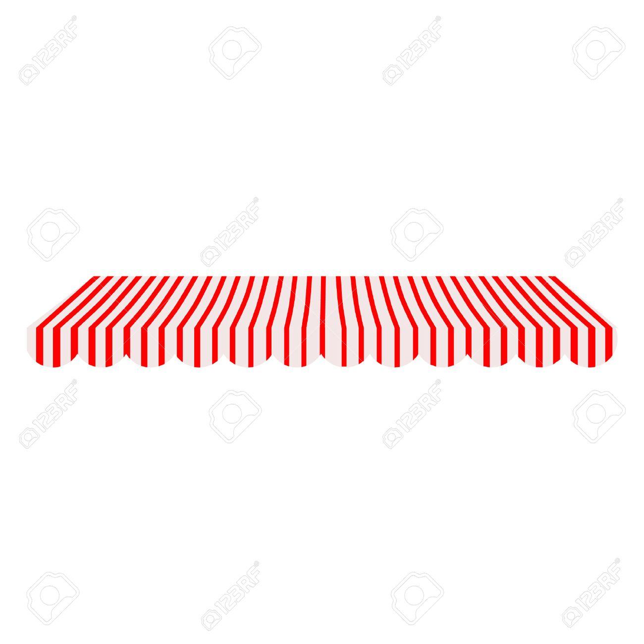 Bevorzugt Gestreifte Rot Und Weiß-Shop Rasterfenster Markise Isoliert DC69