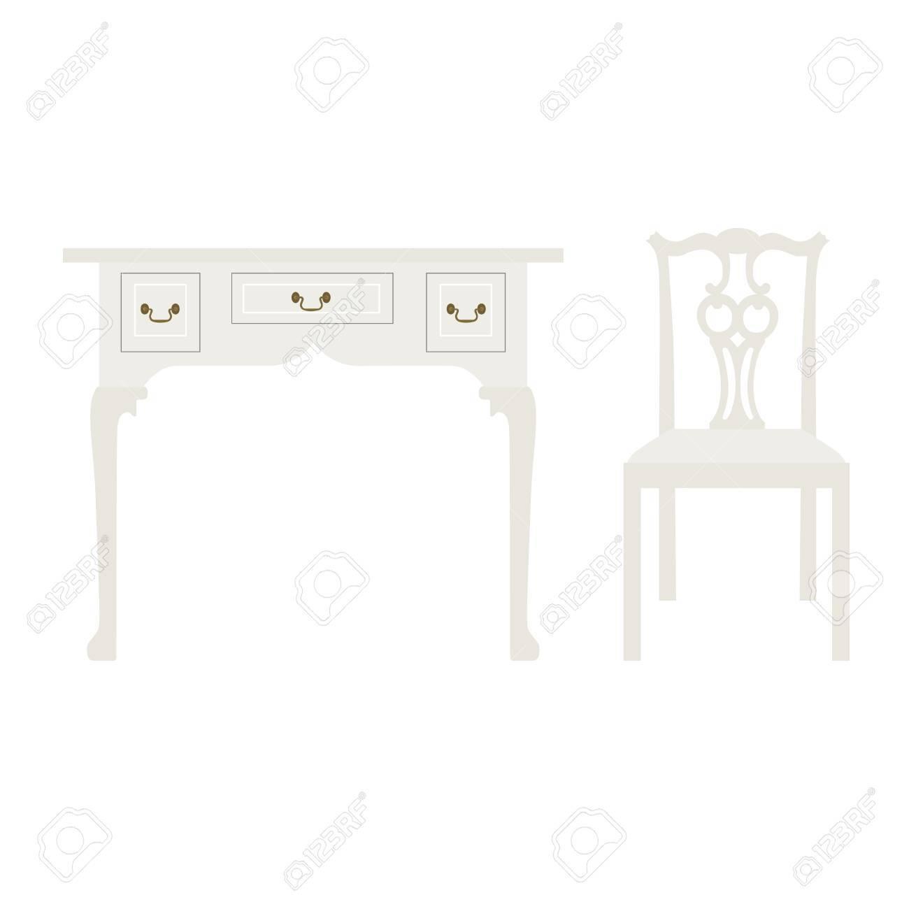 Vector Illustration Luxe Vintage Table Blanche Et Une Chaise ...