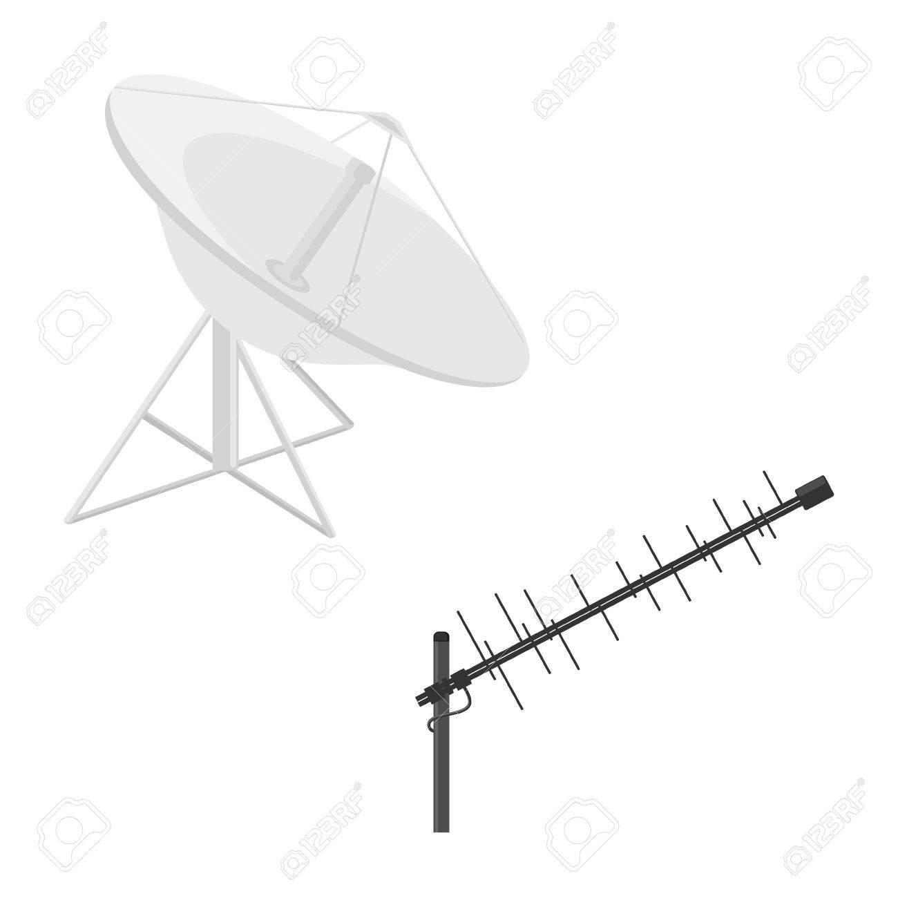 Vector Illustration Satellite Dish Antenna And Television Antenna ...