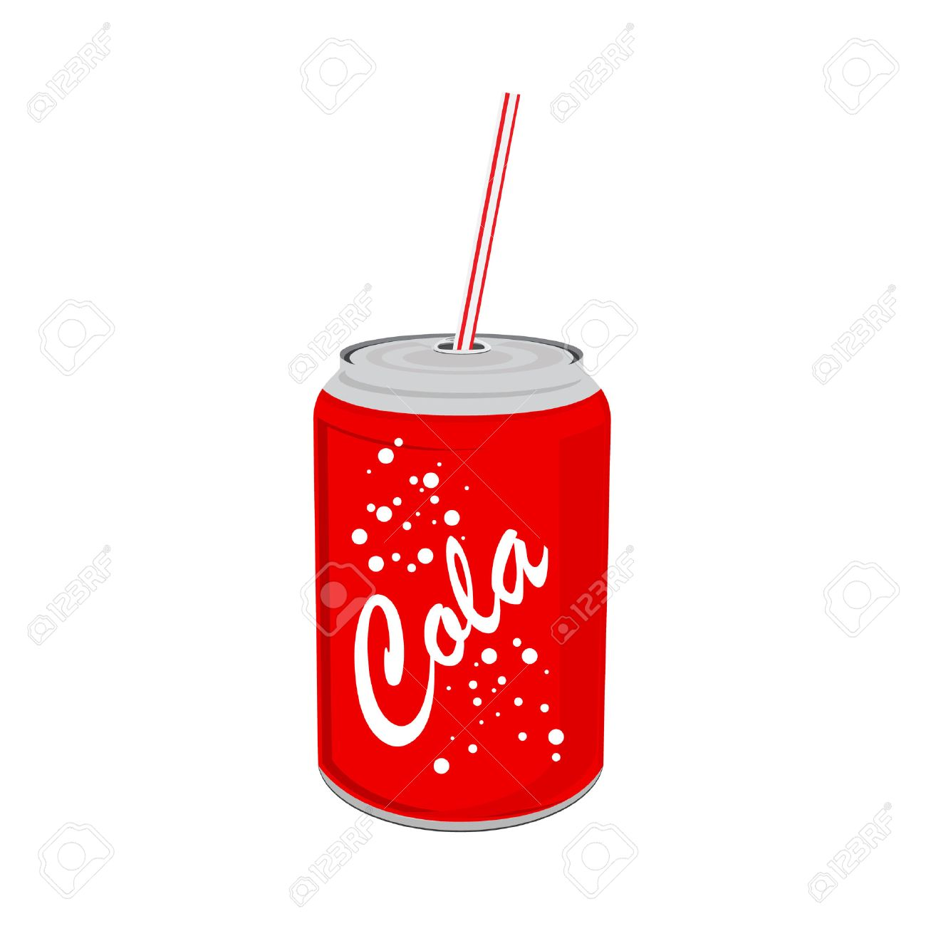 Vector illustration beverage can with straw. Red tin cola can with label. Soda can icon. - 55645396