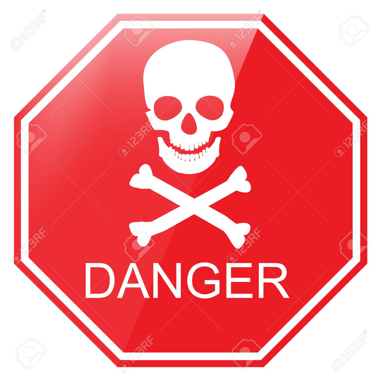 vector illustration red octagon danger sign with skull symbol