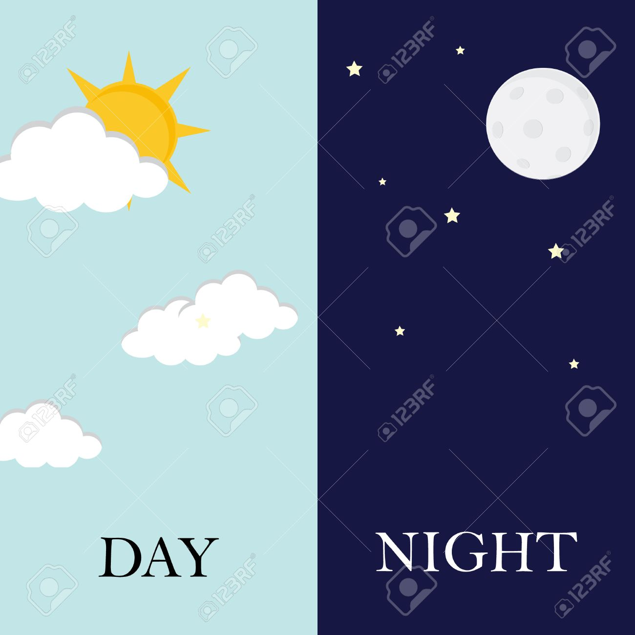 Vector illustration of day and night. Day night concept, sun and moon, day night icon - 55645452