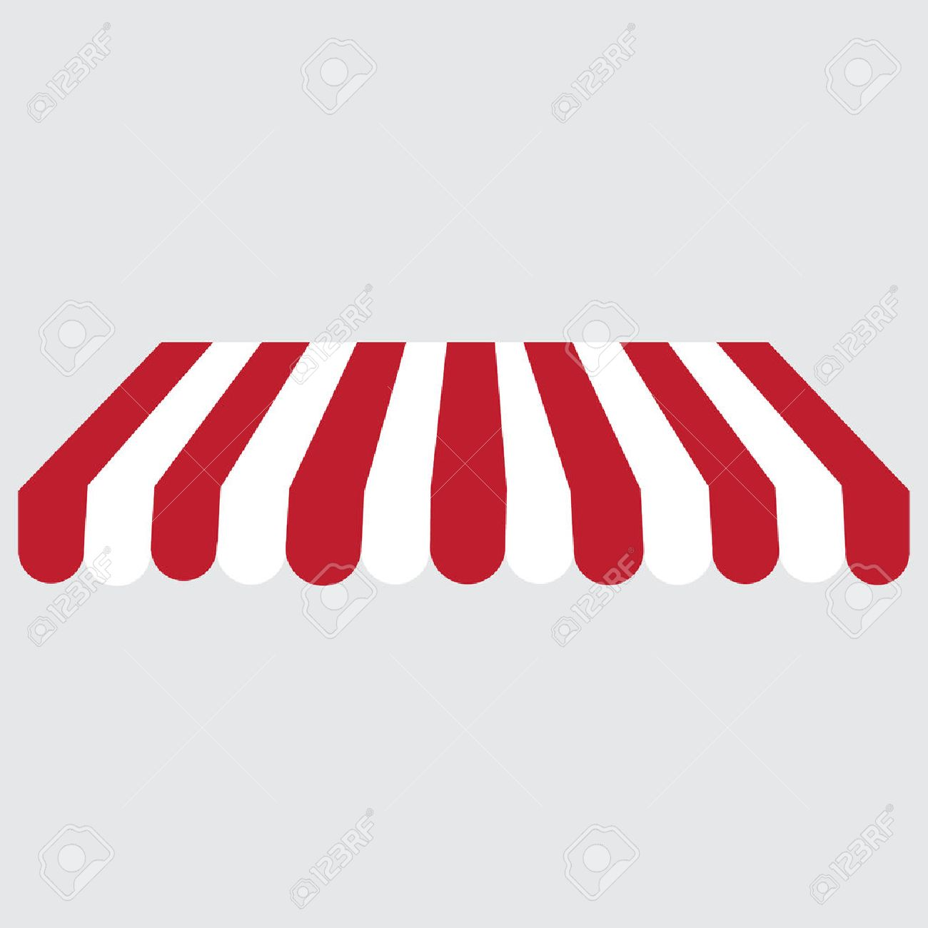 Striped Red And White Shop store Window Awning Vector Icon Striped