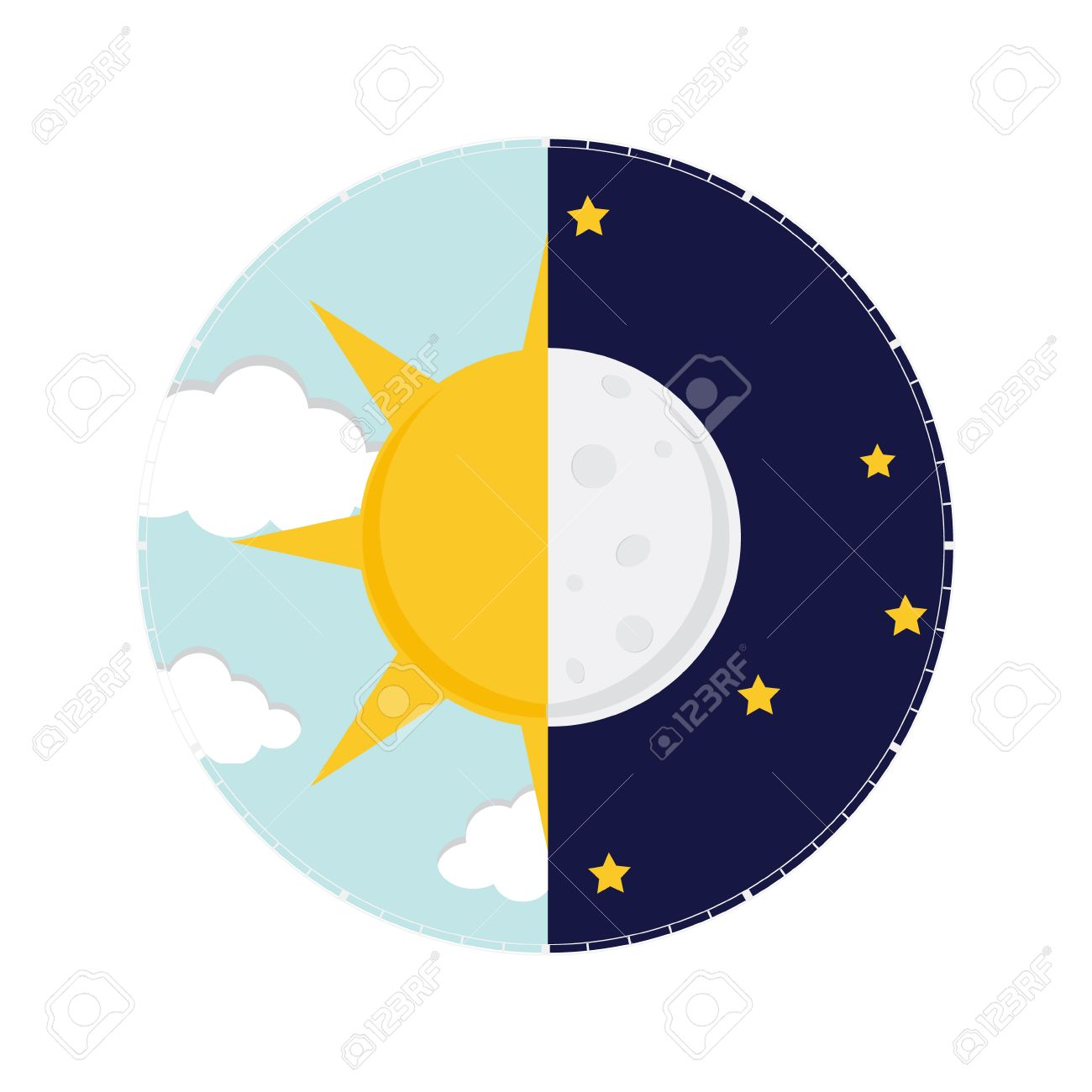 vector illustration of day and night day night concept sun rh 123rf com Sun and Moon Drawings Sun and Moon Outline