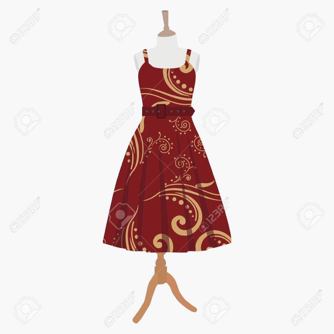 Raster Illustration Cocktail Elegant Robes De Soiree Femme Sur Mannequin Pour Boutique Rouge Robe De Bordo Avec Motif Banque D Images Et Photos Libres De Droits Image 59141265