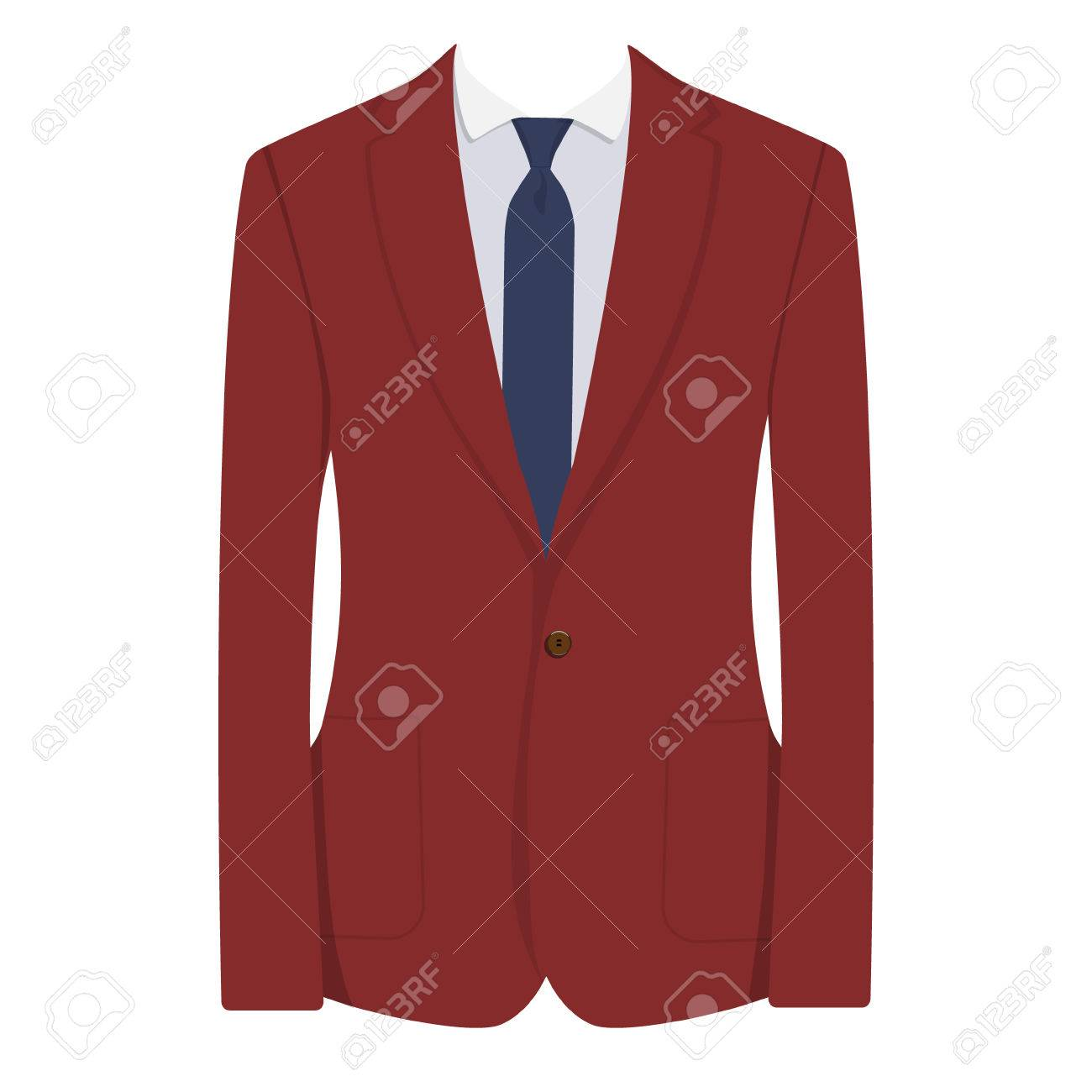 80082855 Illustration - Raster illustration of red, bordo man suit with blue tie and white  shirt isolated on white background. Business suit, business, mens suit, ...