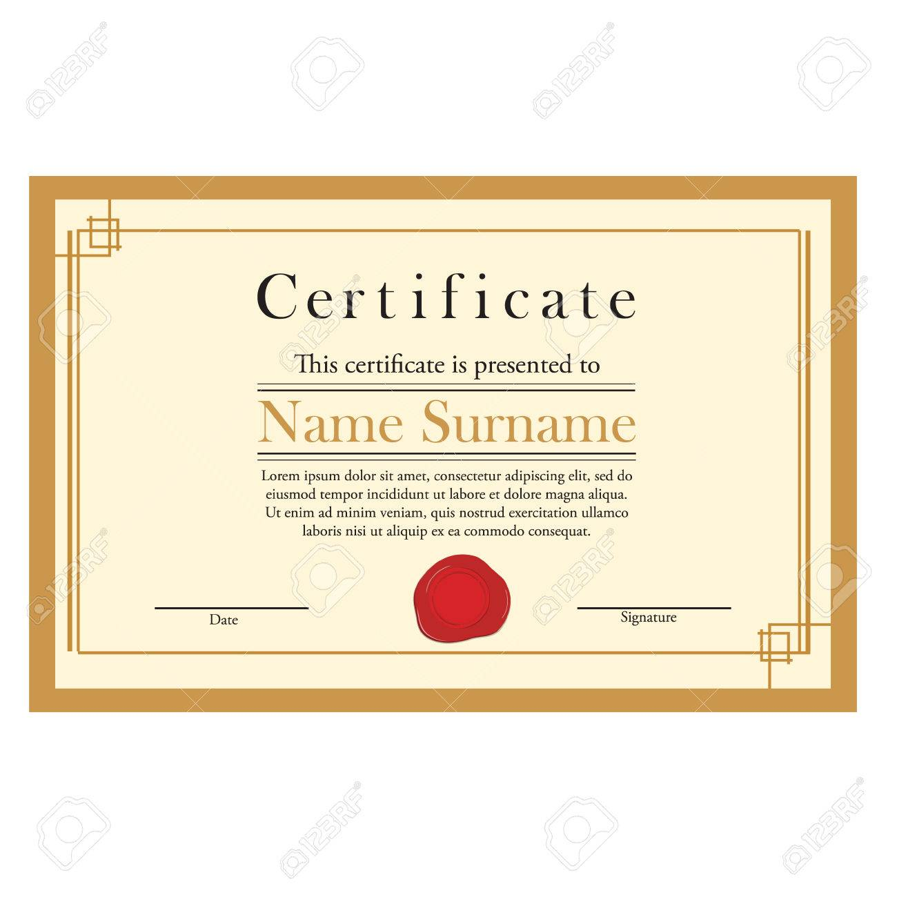 Raster Illustration Of Certificate Template With Red Wax Stamp ...