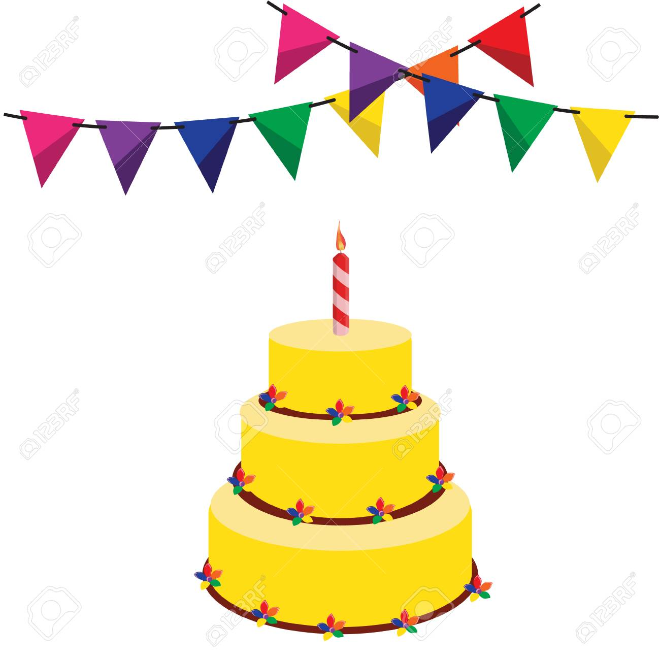 Colorful Bunting And Garland And Birthday Cake Raster Illustration