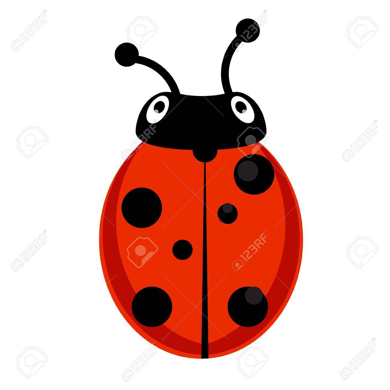 Illustration   Raster Illustration Insect Ladybird. Cute Ladybug Cartoon  Icon Flat Design.
