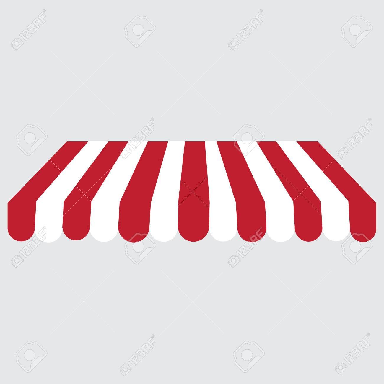 Bekannt Gestreifte Rot Und Weiß-Shop, Schaufenster-Markise Raster-Symbol VU51