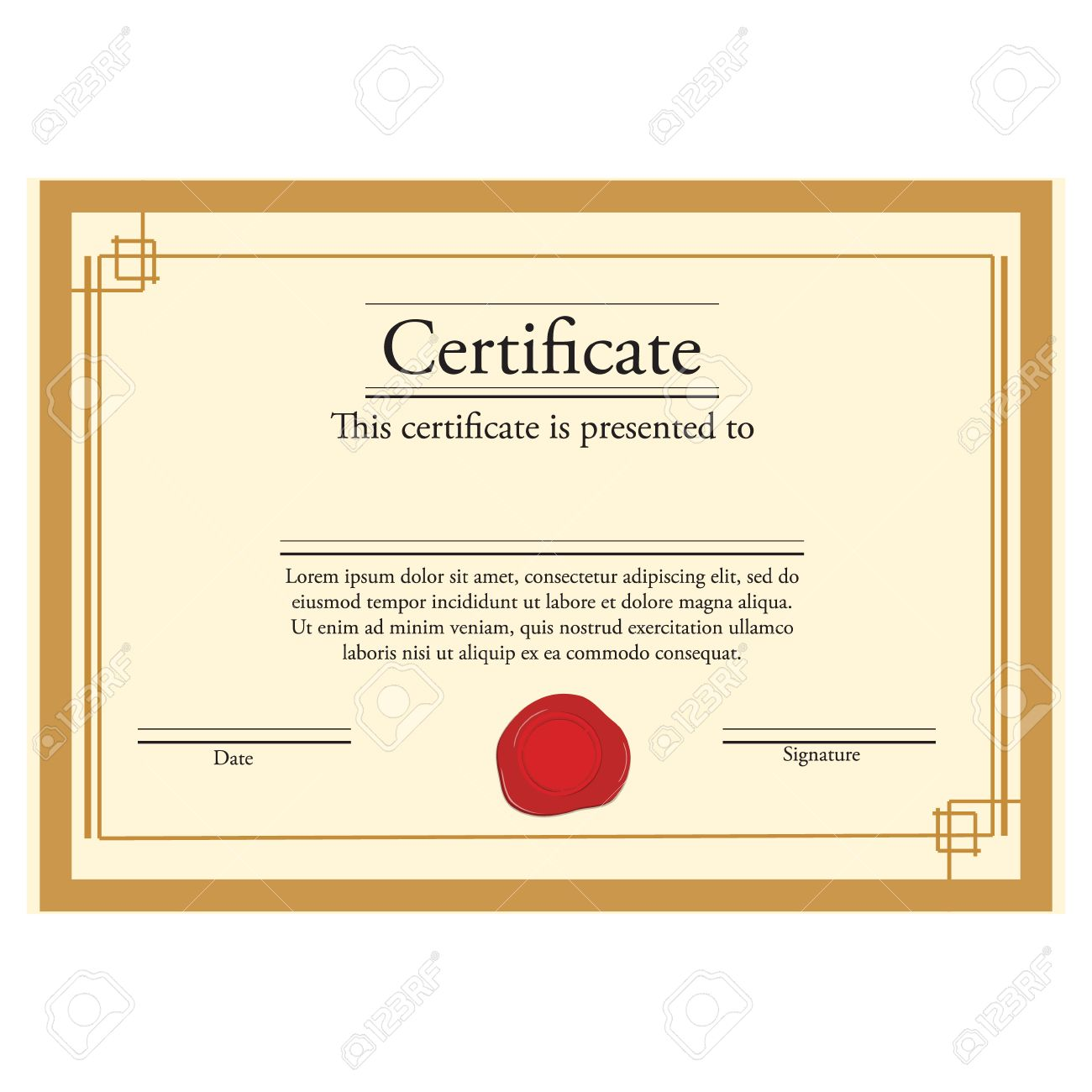 illustration raster illustration of certificate template with red wax stamp and golden frame certificate border modern certificate - Certificate Frame Template