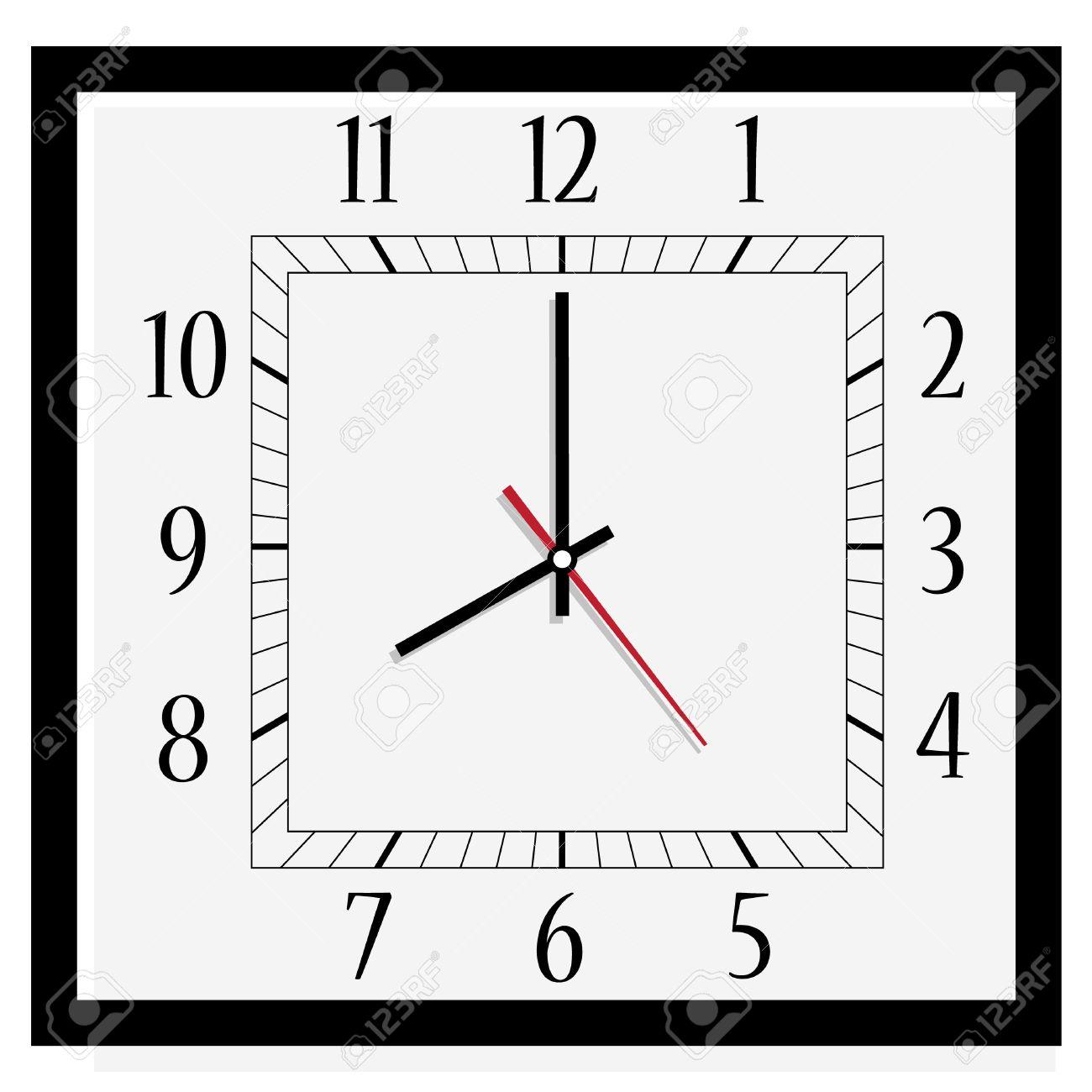 Raster Darstellung Buro Quadrat Uhr Klassisches Schwarz Weiss