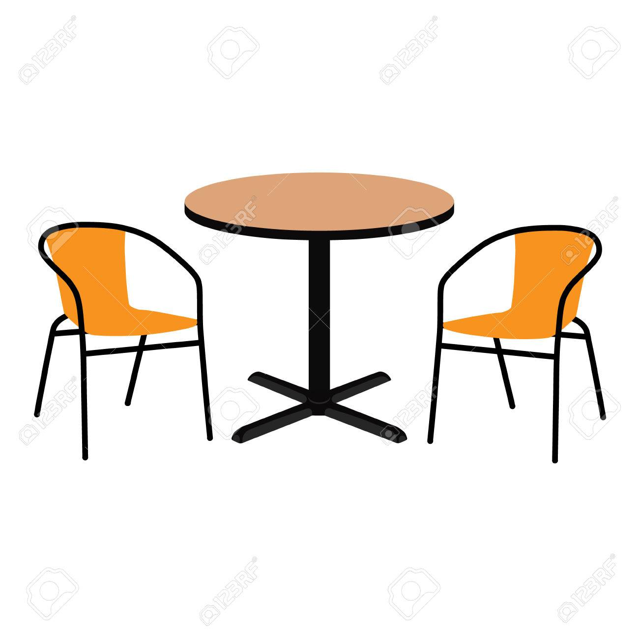 Raster Illustration Wooden Outdoor Table And Two Chairs. Round Table And  Chairs For Cafe,