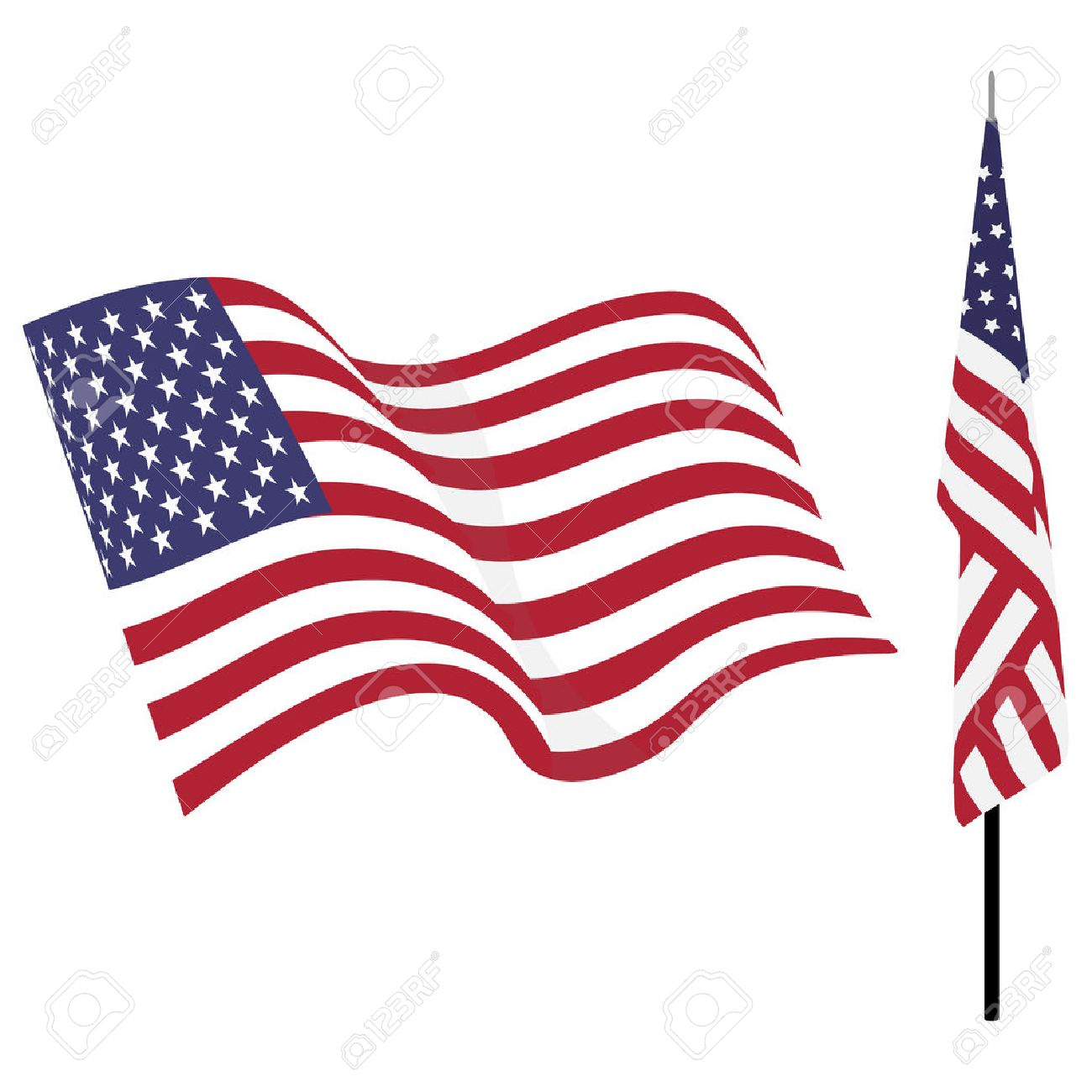 Waving american flag and flag on stand. Usa flag vector set isolated on white - 61723739