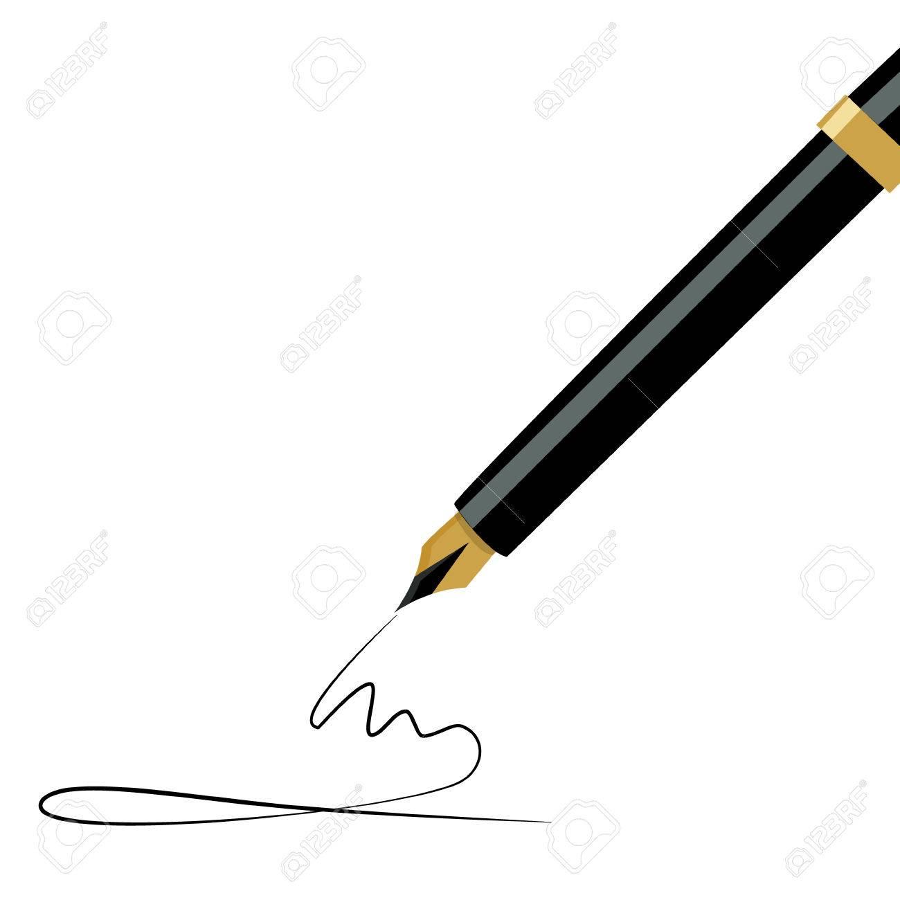 ベクトル イラスト黄金万年筆を書くインクのペンのイラスト素材