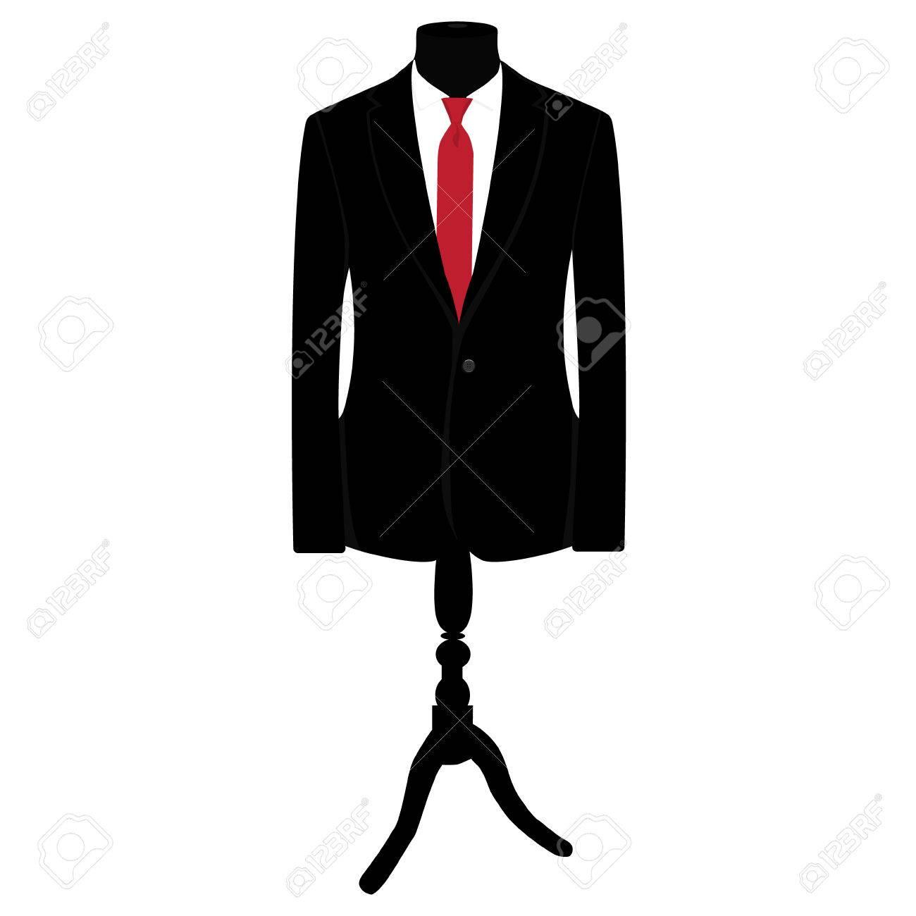 赤いネクタイとマネキンに白シャツ黒スーツのベクター イラストです