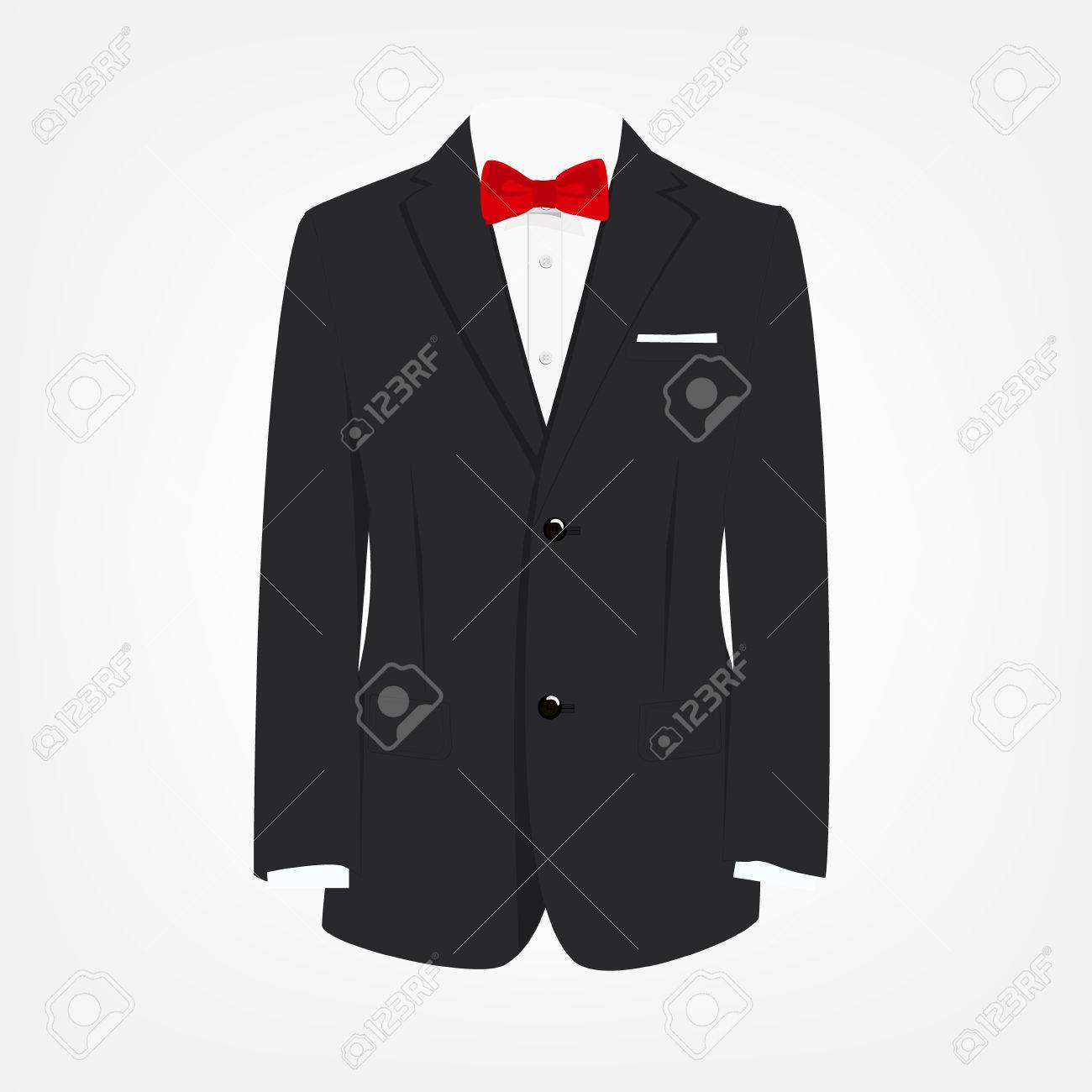 569473c6a99a Vector illustration elegant, modern businessman black suit with red bow tie.  Suit icon Stock