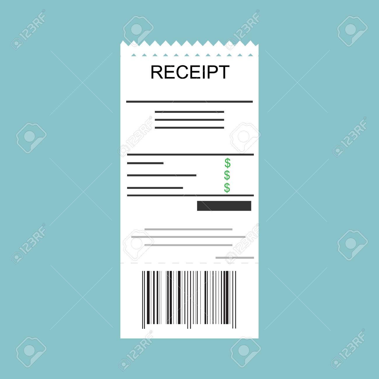 Receipt Icon Vector Illustration Paying Bills Concept Payment – Money Receipt Design
