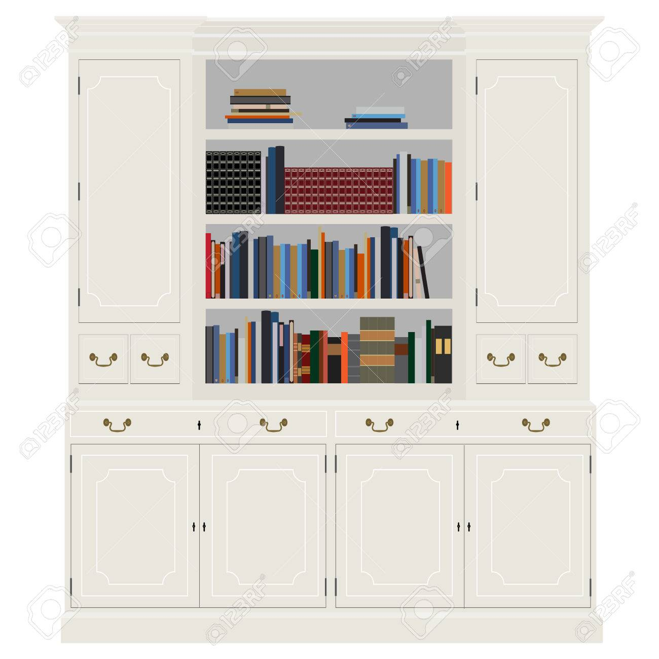 Vector Illustration White Vintage Cabinet With Books Bibliography