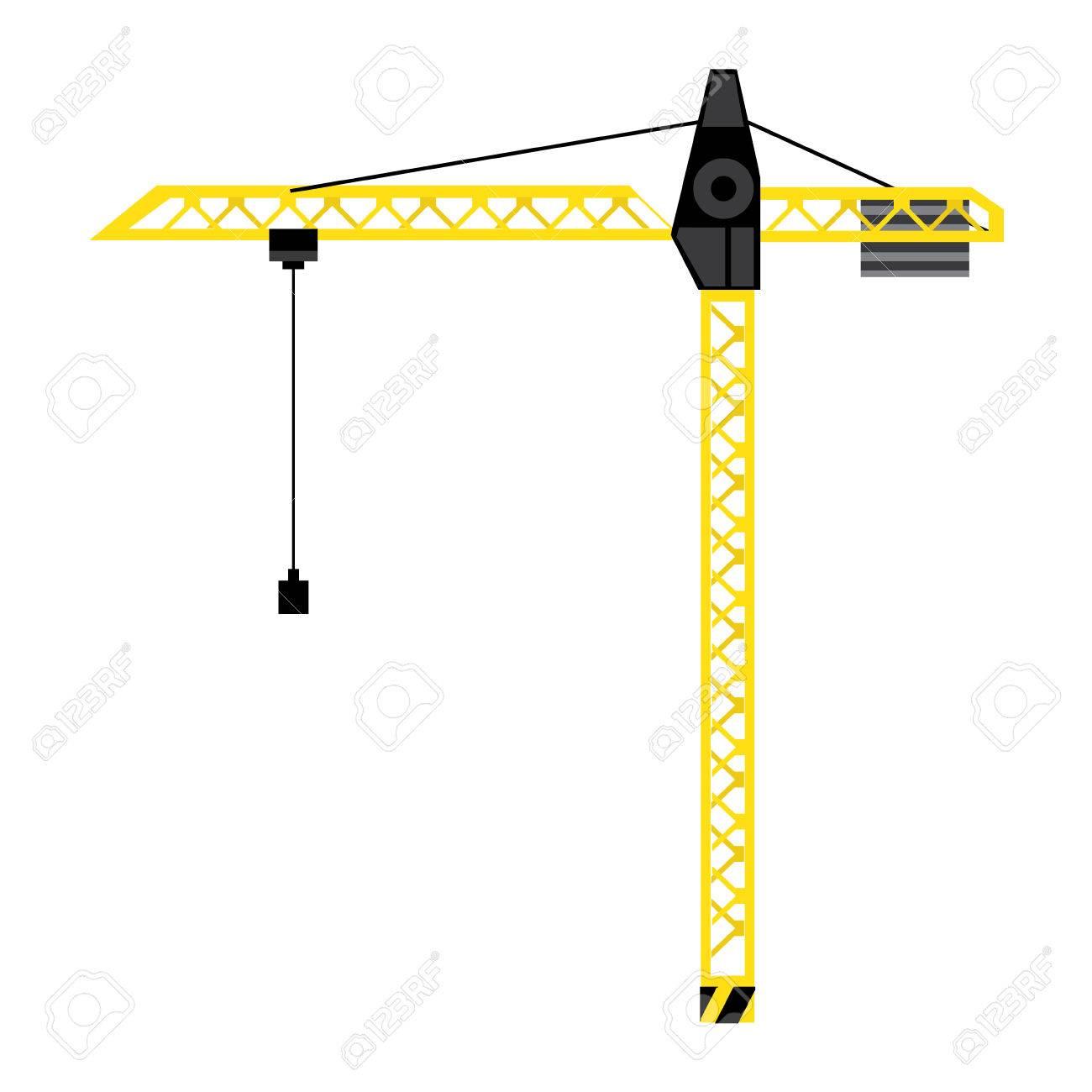 Vector illustration yellow construction crane tower  Crane flat