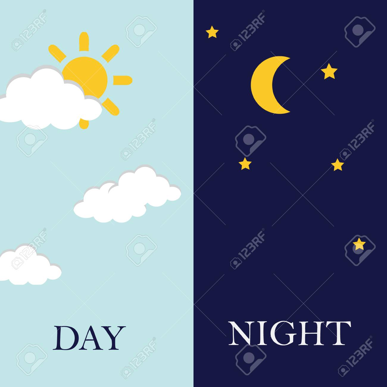 Vector illustration of day and night. Day night concept, sun and moon, day night icon - 62145598