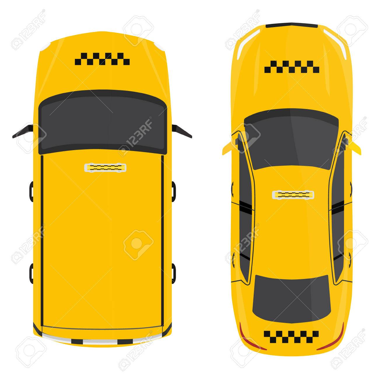 Vector illustration yellow taxi car top view  Public transportation