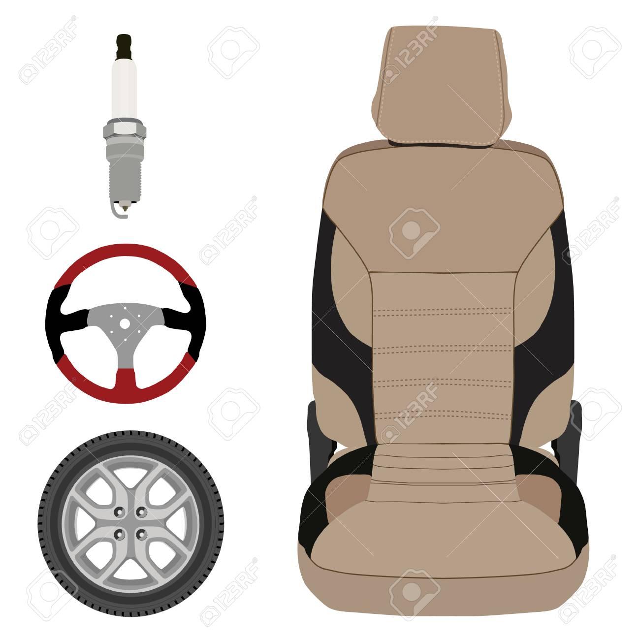 Raster-Icon-Sammlung Autoteile Gesetzt. Sport-Lenkrad, Autositz ...