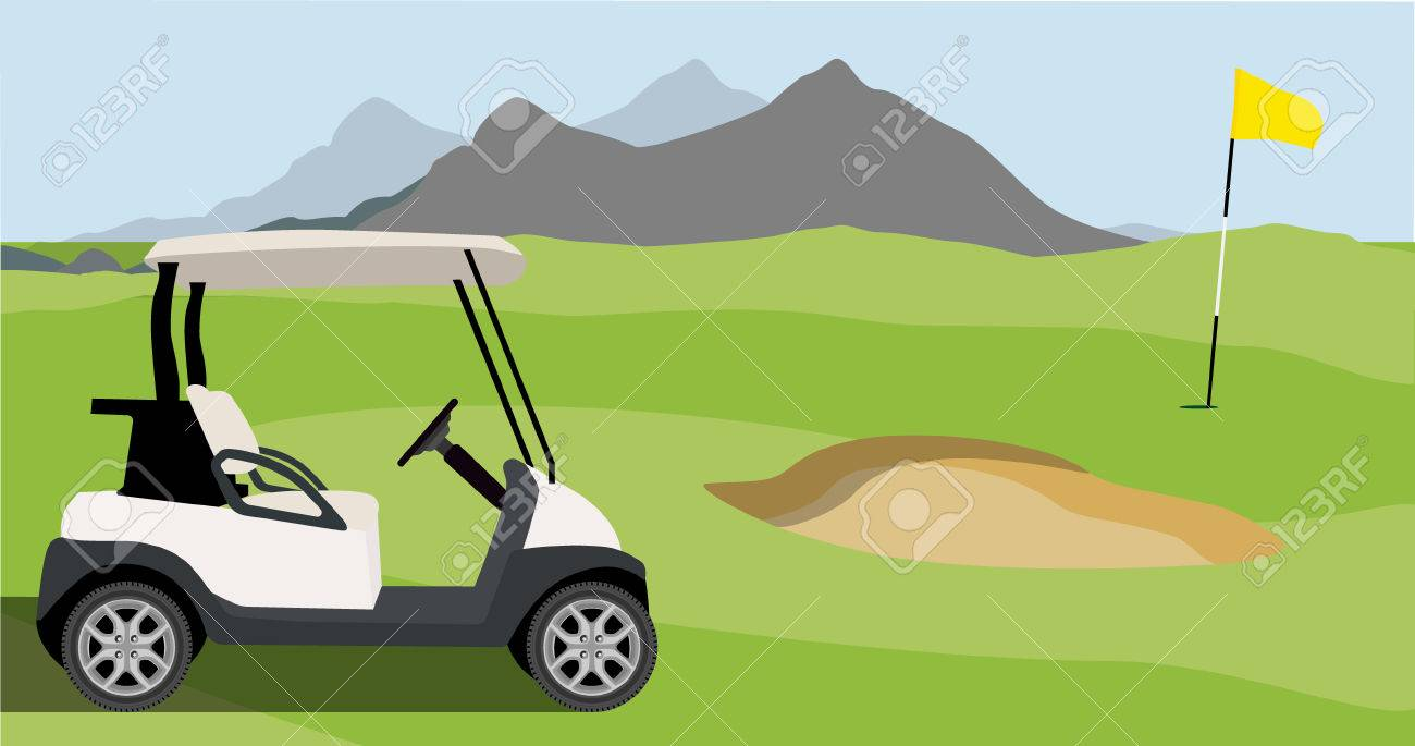 Vector illustration of golf field, golf flag and golf cart with blue golf clubs bag. Mountain landscape or background. Golf course. - 63490166