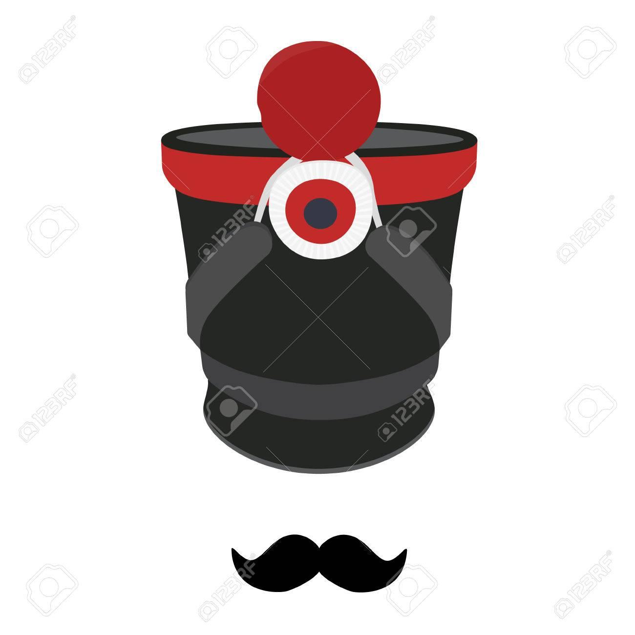 al por mayor online mejor lugar Super descuento Ilustración del vector gorra militar cilíndrica, sombrero con pompón y la  insignia. sombrero chacó de la infantería y el bigote