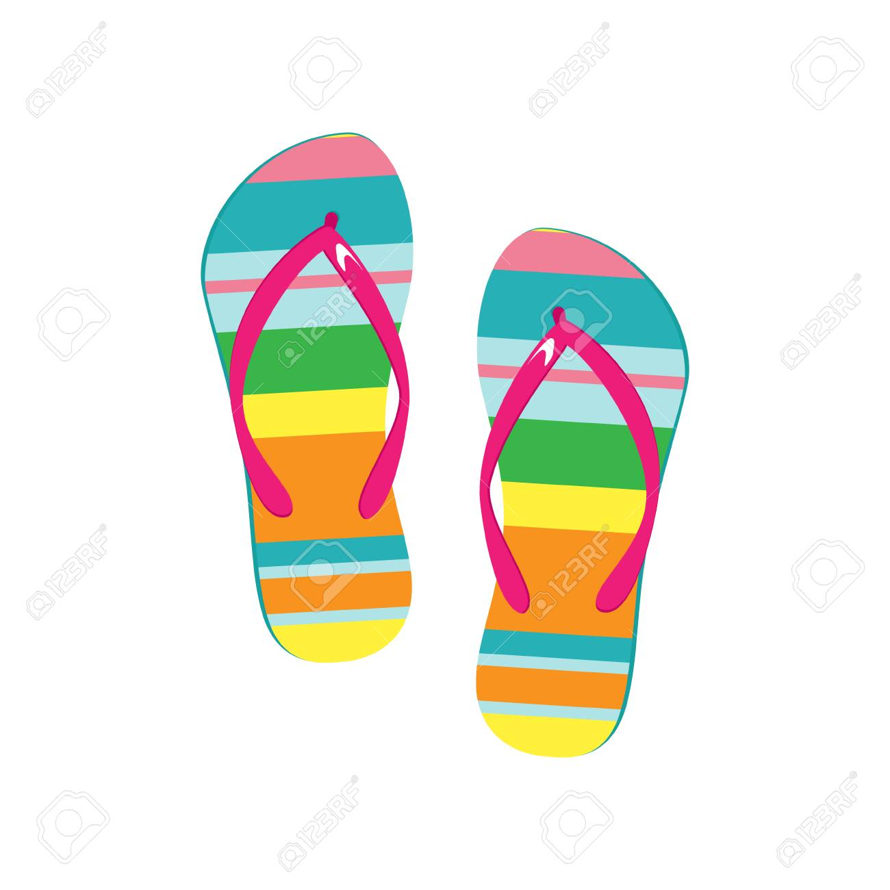 d0c0ff3705f Vector - Vector illustration pair of colorful flip flops. Beach slippers  icon