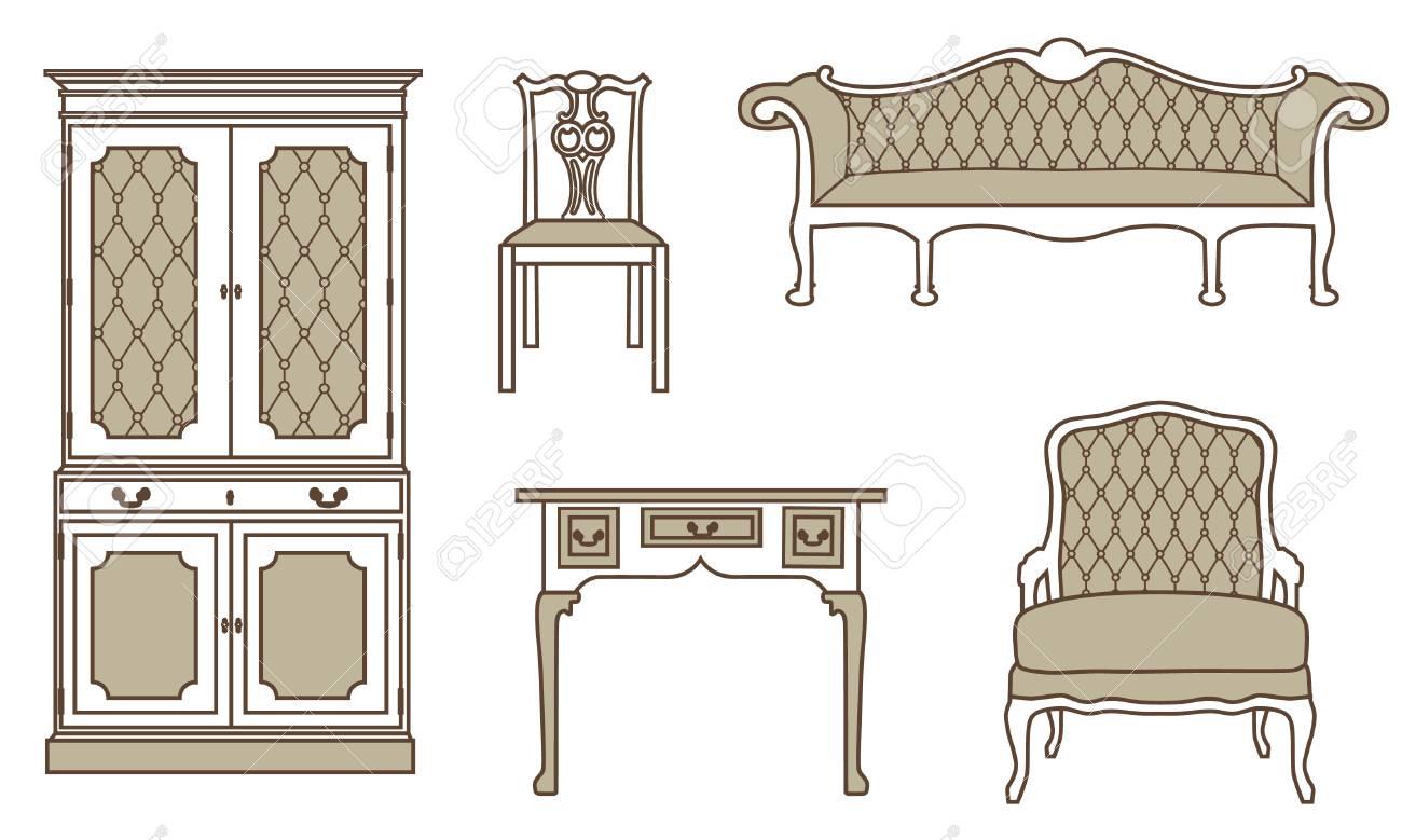 vektor illustration reihe sammlung von vintage mobel symbole antik retro