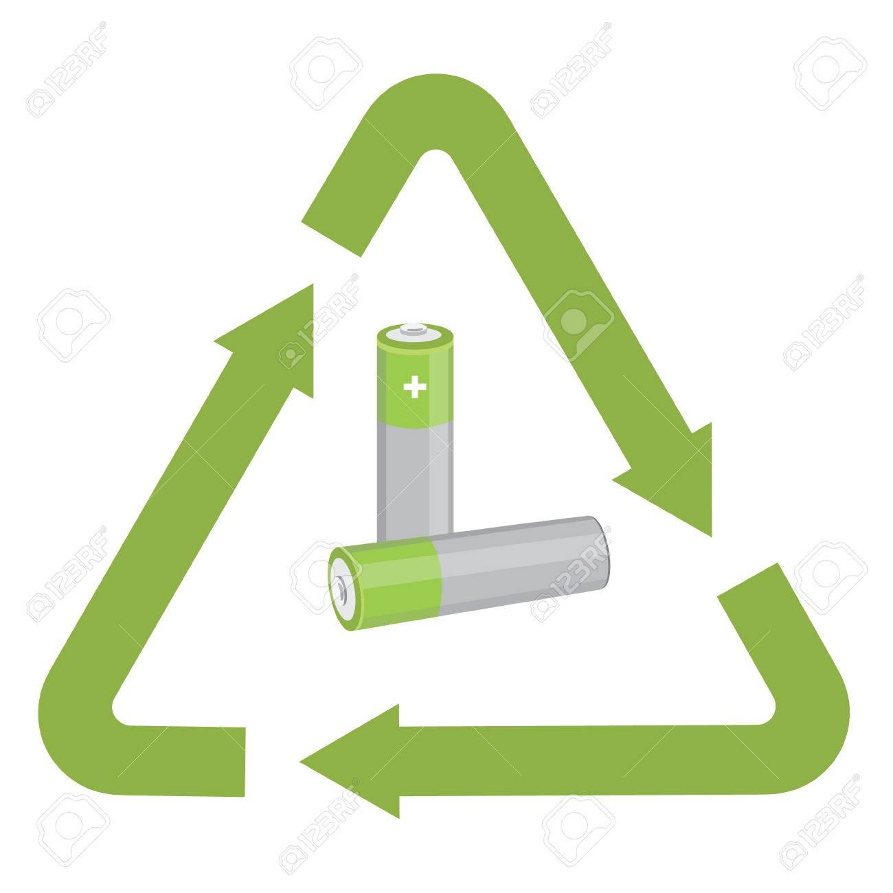 Vector Illustration Used Battery With Green Recycling Symbol ...