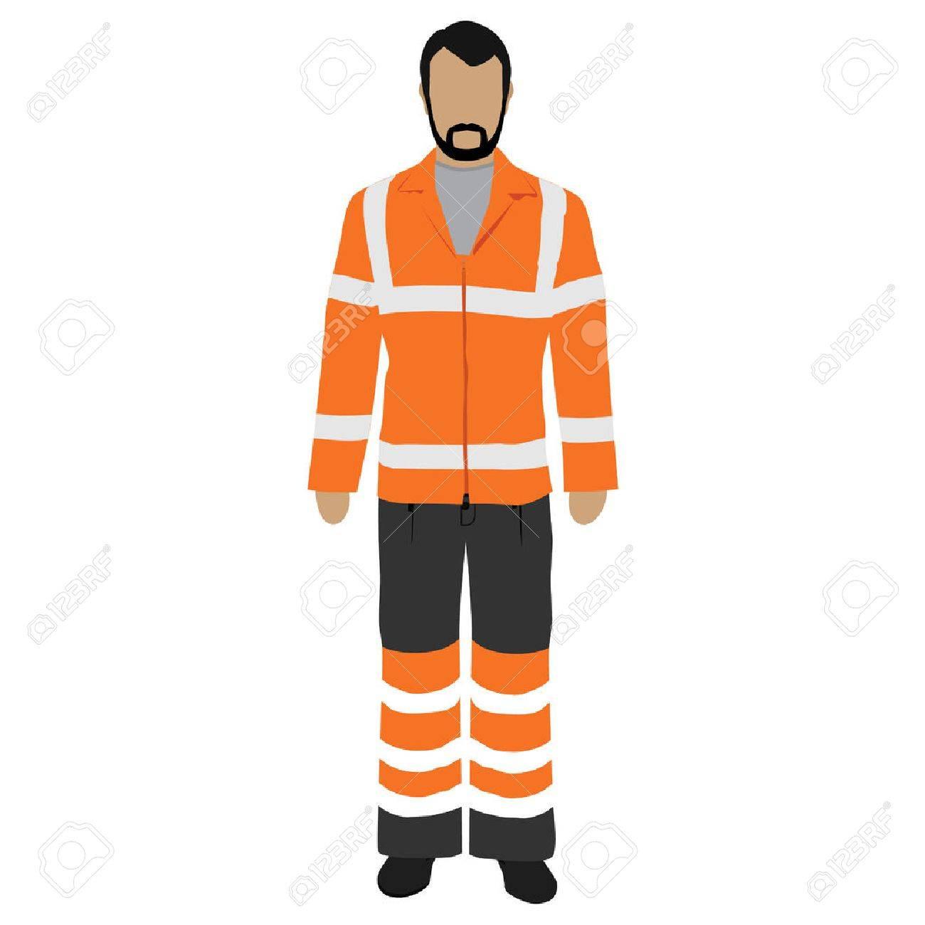 Vector illustration worker in orange safety jacket. Worker safety clothing. Protective worker uniform jacket with reflective stripes. - 69461951