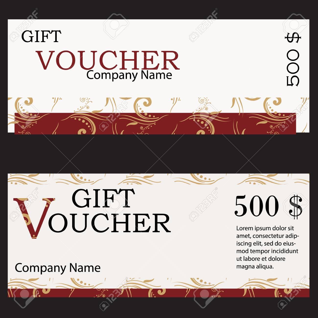 raster illustration gift voucher design template with red golden