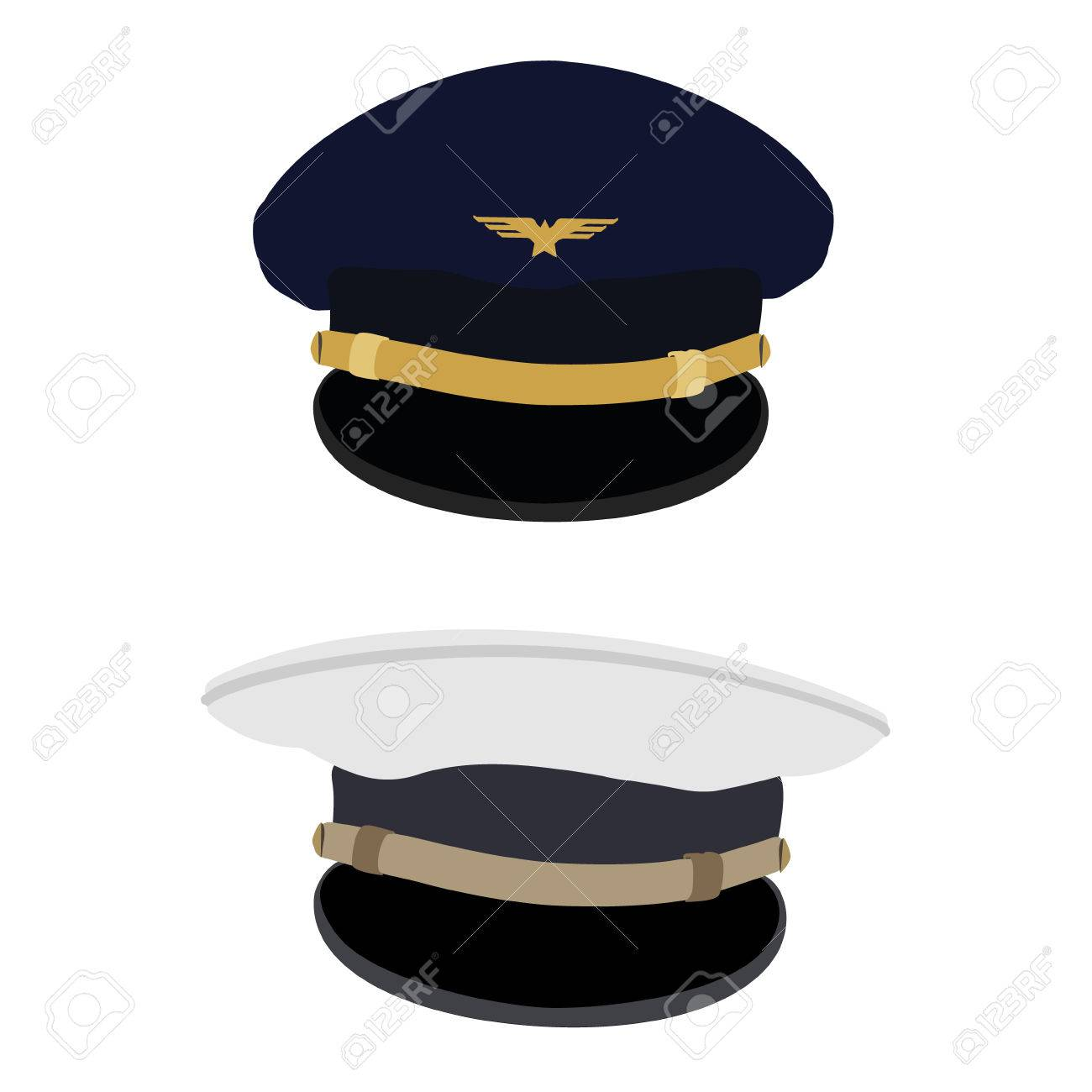 Raster Ilustración Gorra De Piloto Azul Con Insignia Y Capitán ...