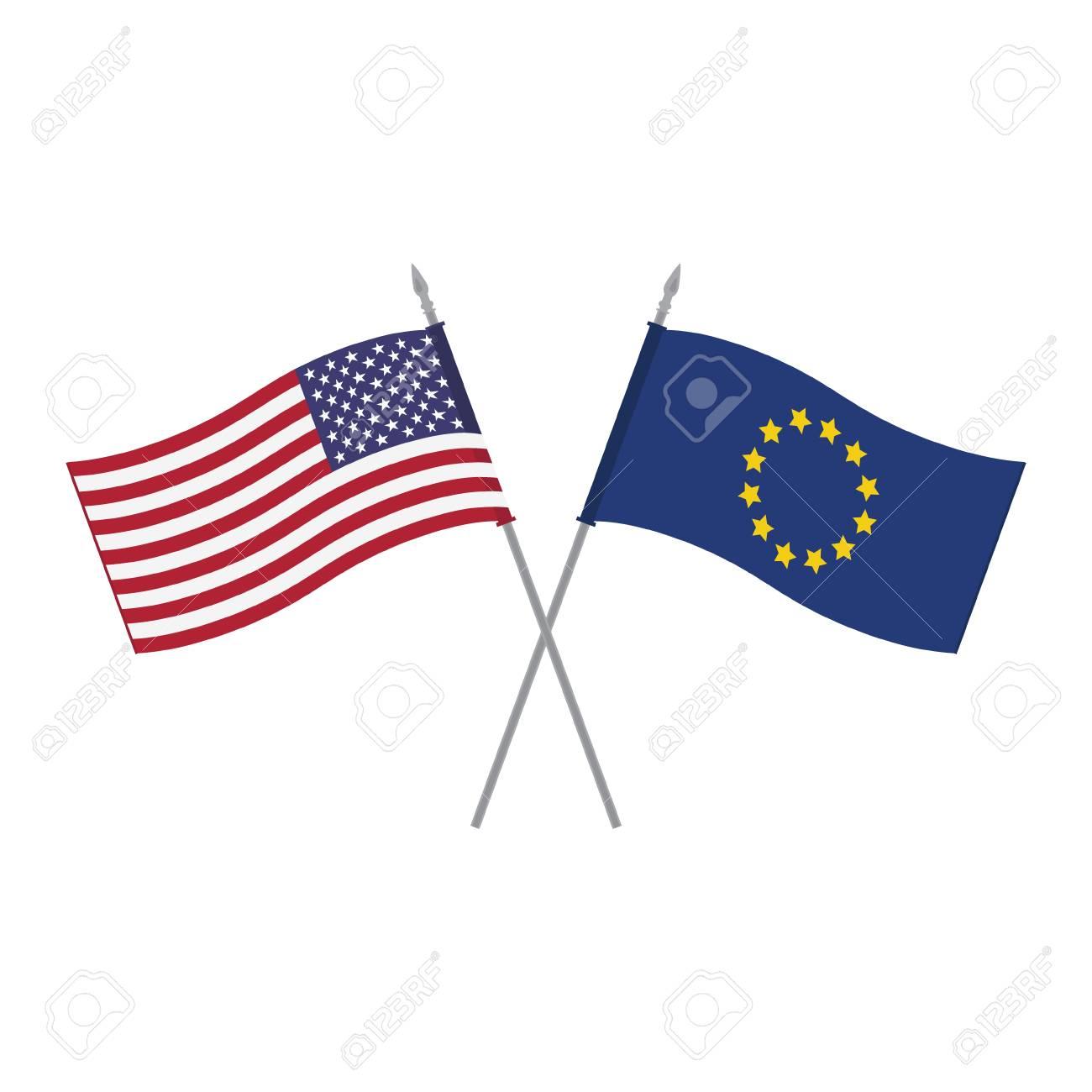 Vektor-Illustration EU Und USA Vektor-Tabelle Flaggen Vorlage ...