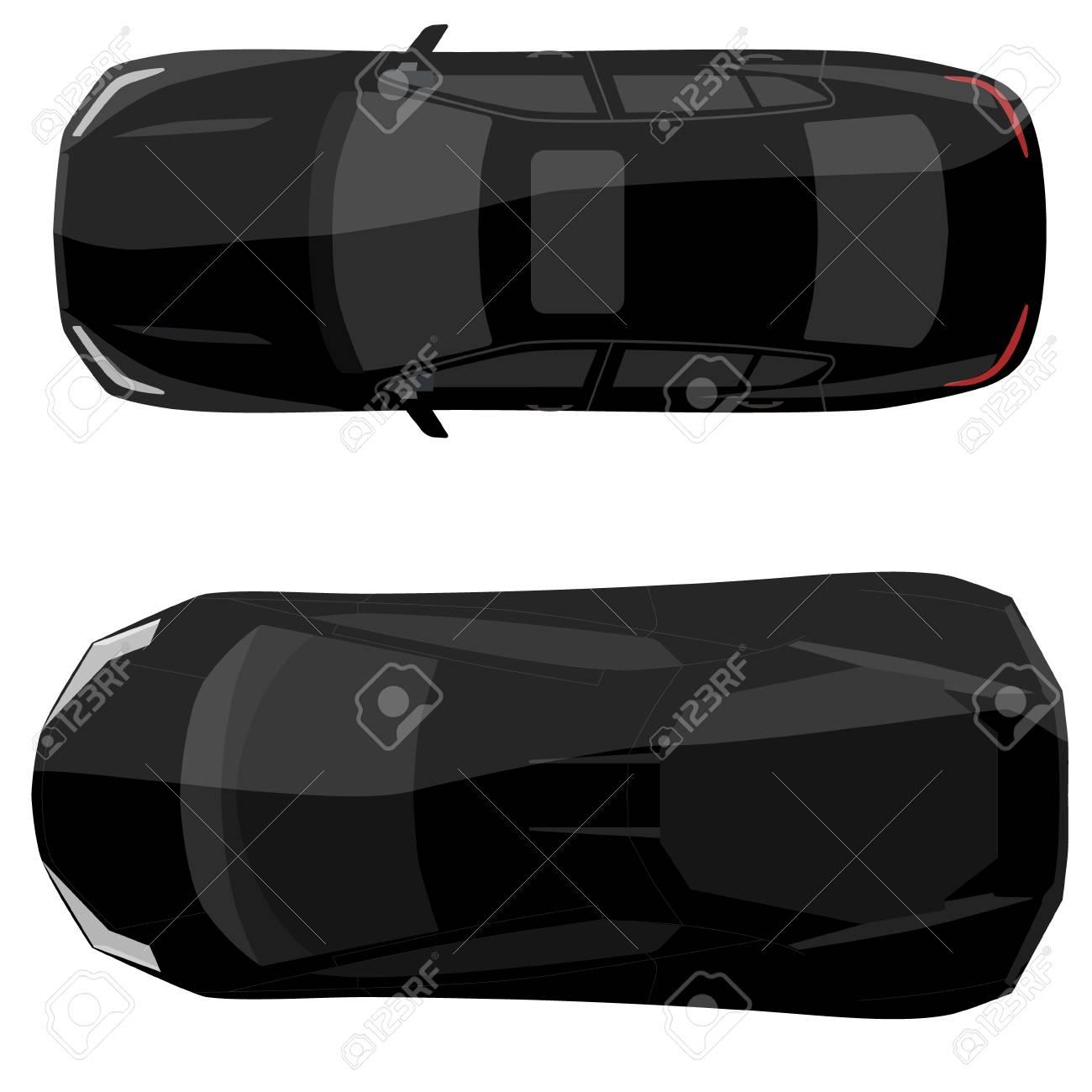 Raster Illustration Black Sedan And Sport Car Top View Generic