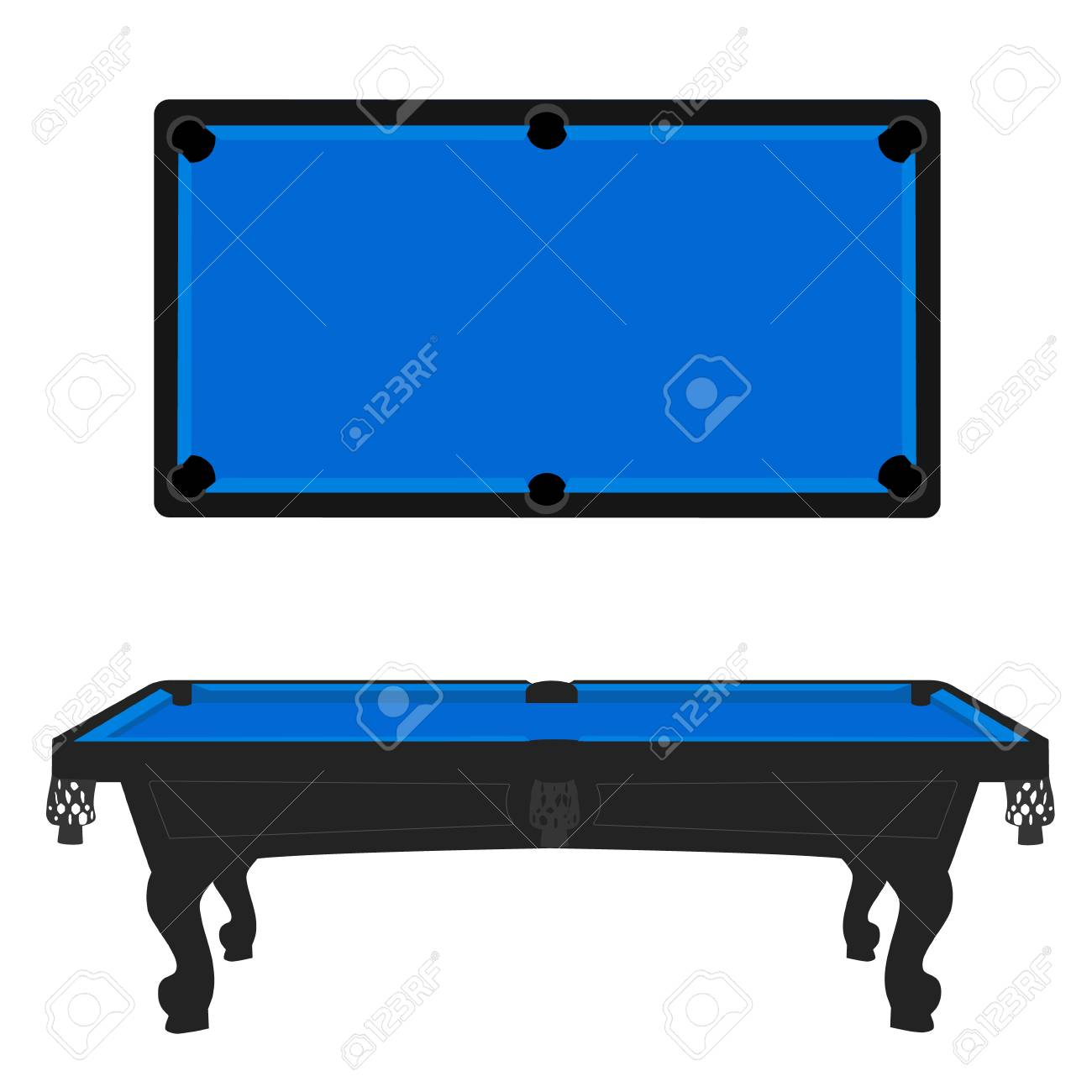 Raster Illustration Retro Vintage Pool Table With Blue Cloth - Retro pool table