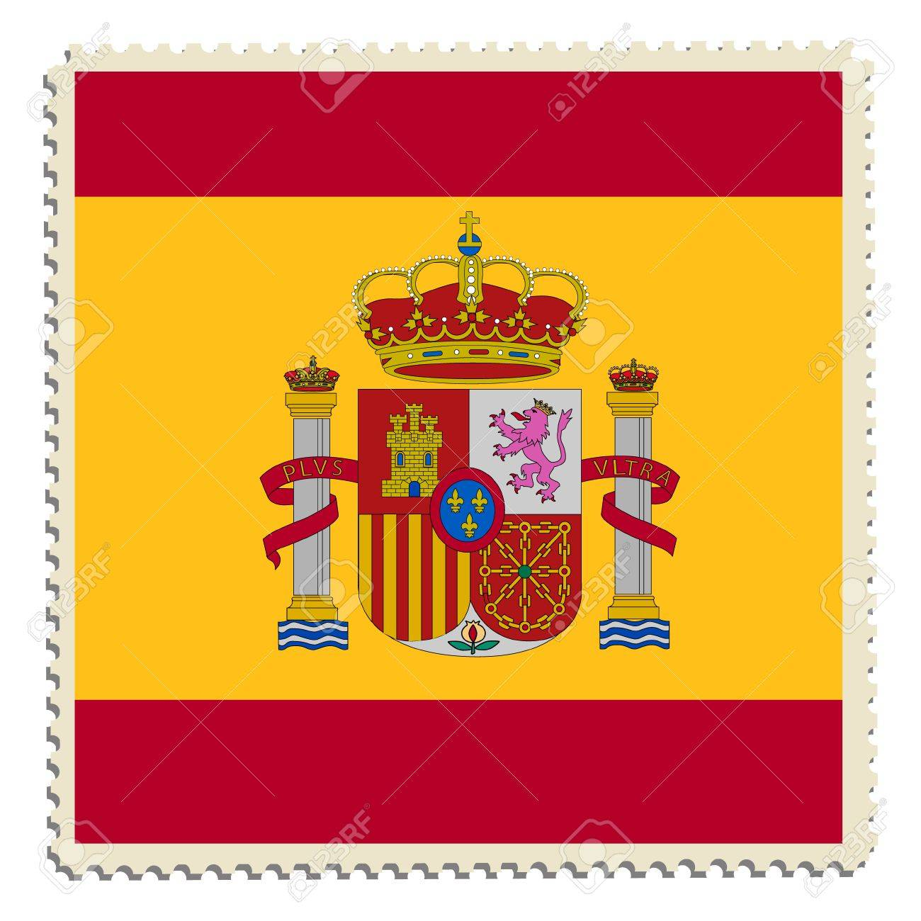 Raster Illustration Flag Of Spain On Postage Stamp Spanish Stock