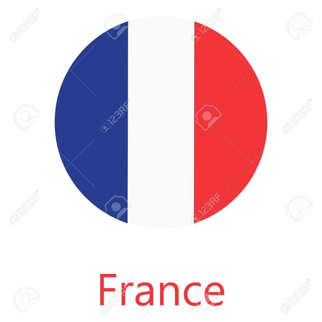 Drapeau Rond icône du drapeau rond de la france. clip art libres de droits