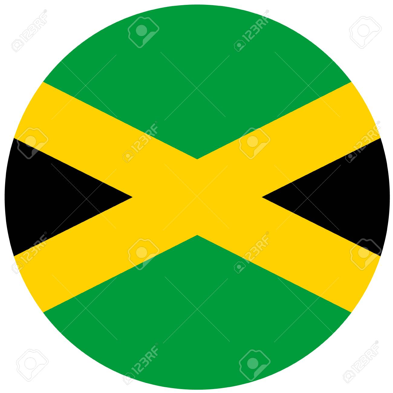 Raster Illustration Of Jamaica Flag Round National Flag Of Jamaica Stock Photo Picture And Royalty Free Image Image 76164358