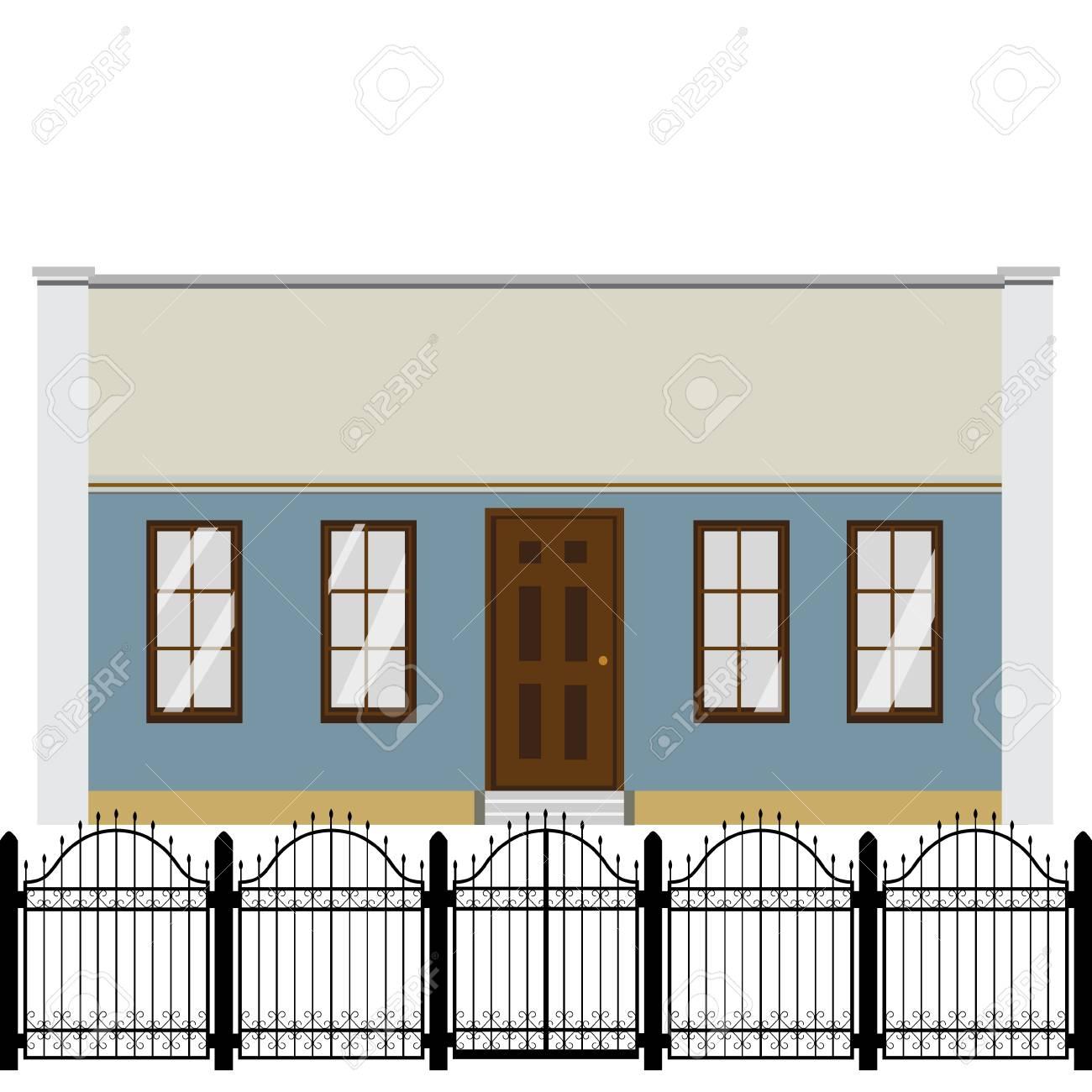 Raster Illustration Hausfassade Wohnhaus Mit Modularem Gelander Des