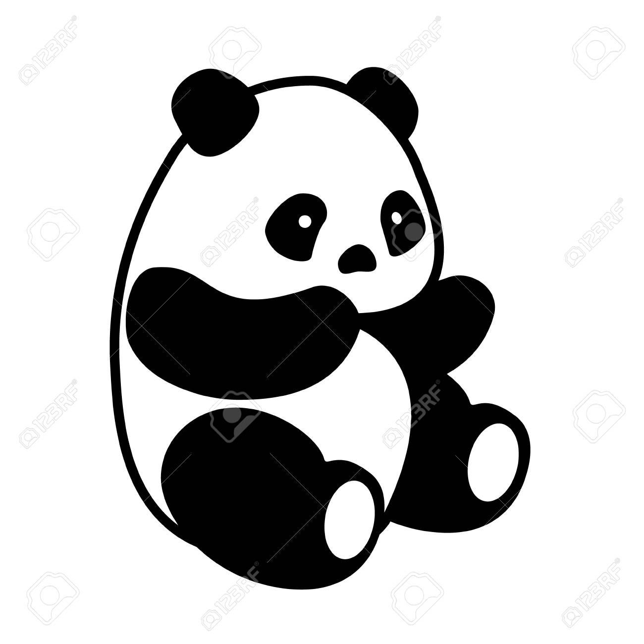 Vector Illustration Cute Cartoon Asian Panda Bear Panda Baby