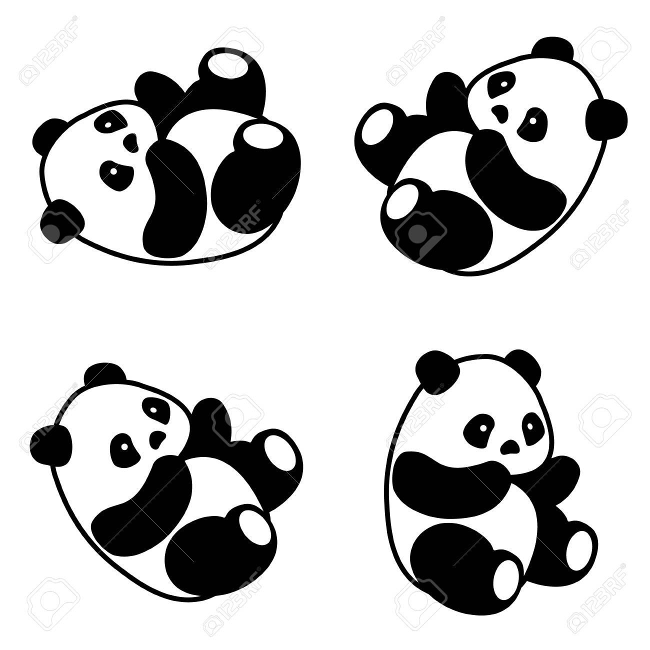 ベクトル イラストかわいい漫画コレクション アジア パンダ セット